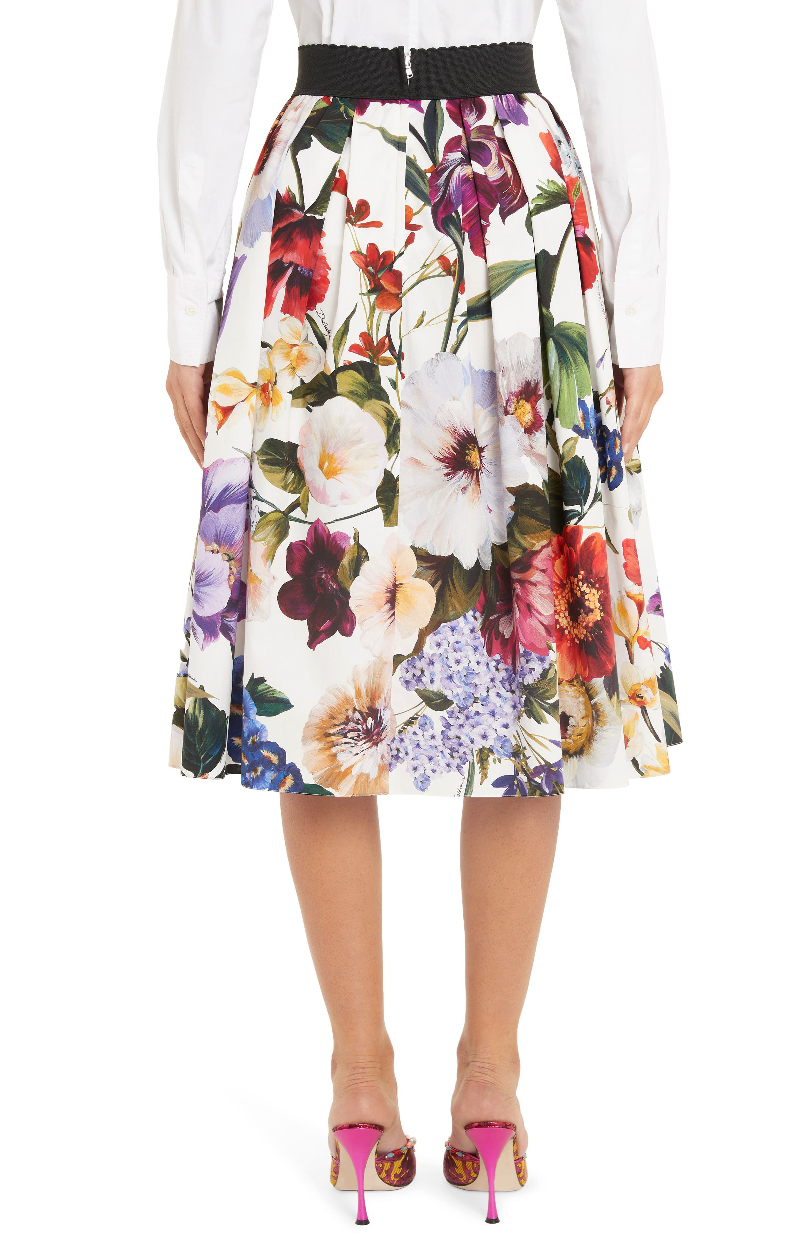 DOLCE&GABBANA, Floral Print A-Line Poplin Midi Skirt, Alternate thumbnail 2, color, PRINT
