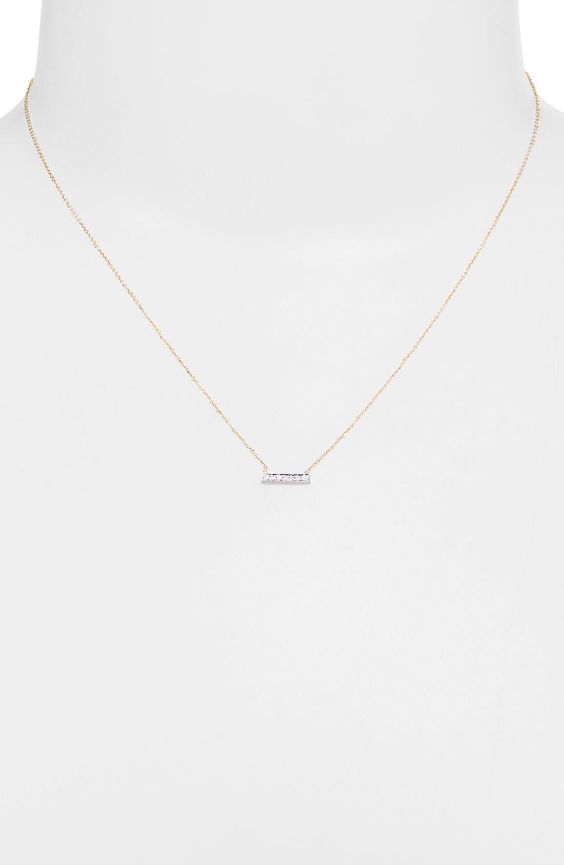 DANA REBECCA DESIGNS, 'Sylvie Rose' Diamond Bar Pendant Necklace, Alternate thumbnail 8, color, YELLOW GOLD