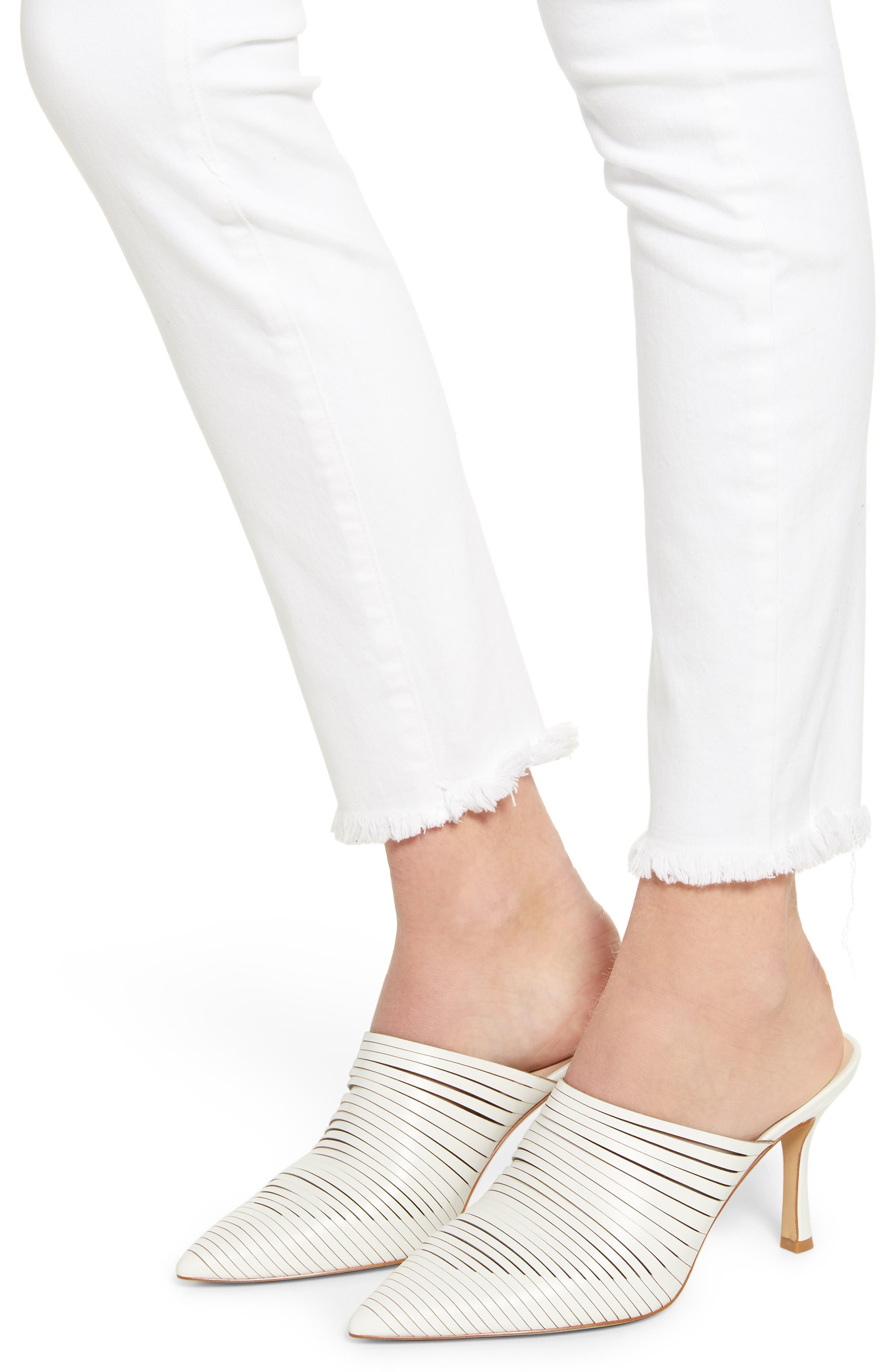 PAIGE, Hoxton High Waist Ankle Skinny Jeans, Alternate thumbnail 5, color, CRISP WHITE