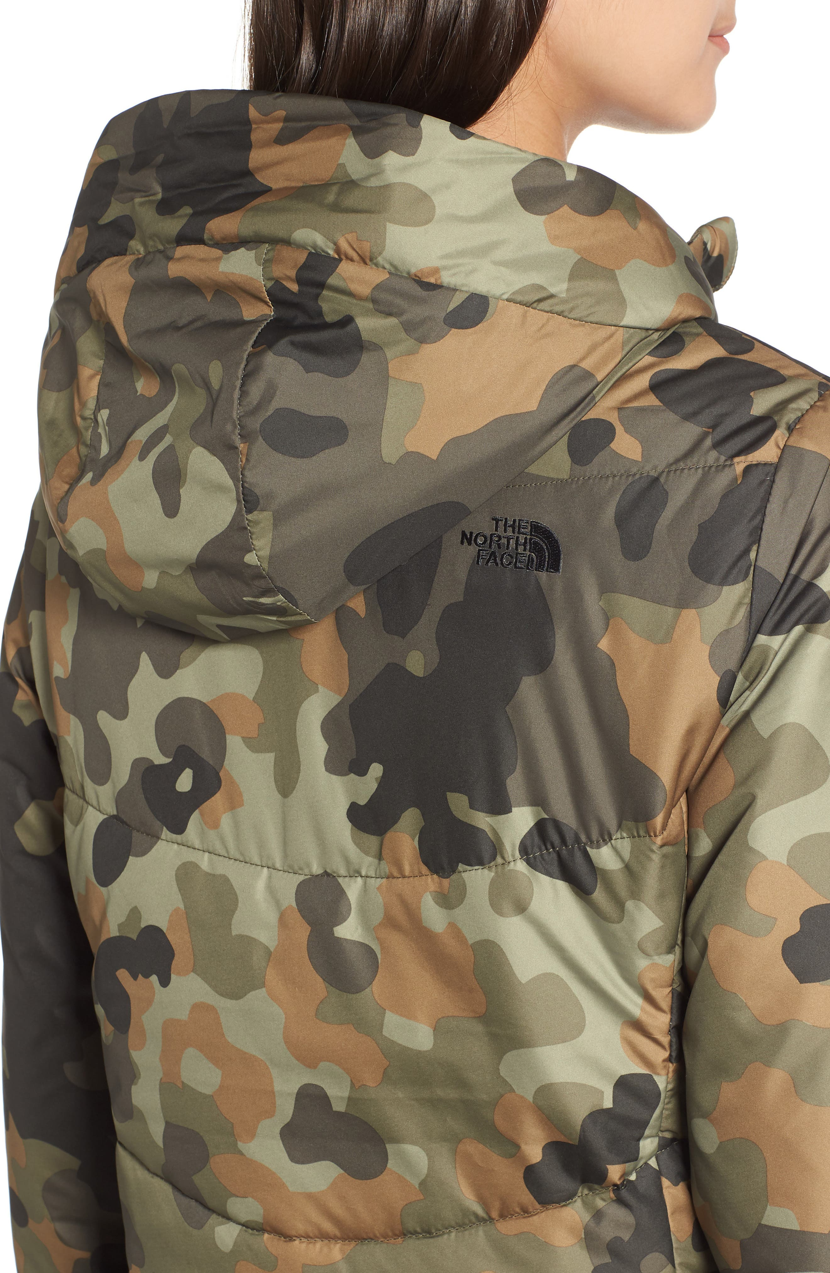 THE NORTH FACE, Harway Heatseeker<sup>™</sup> Water-Resistant Jacket with Faux Fur Trim, Alternate thumbnail 5, color, NEW TAUPE GREEN MACROFLECK