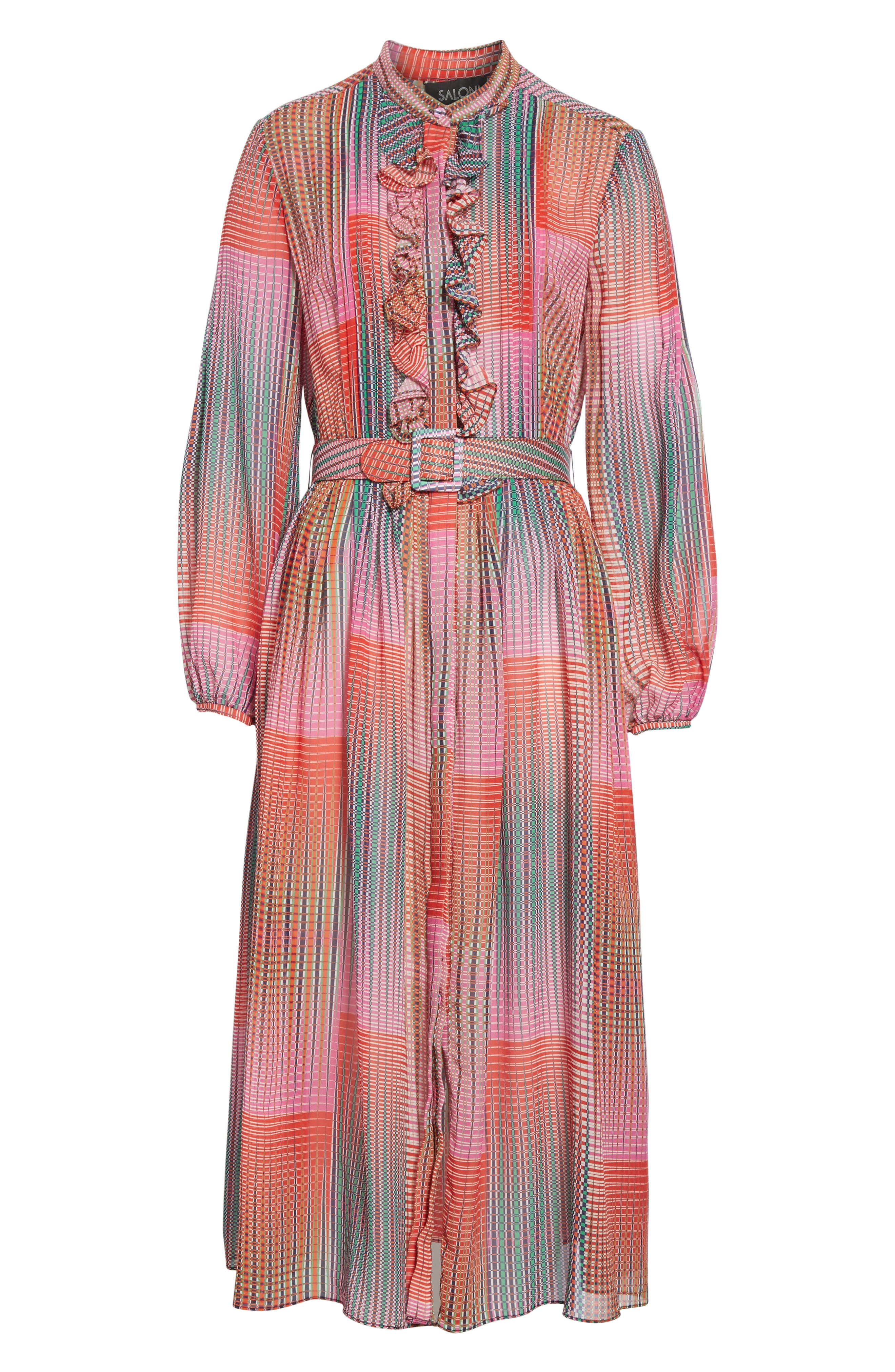 SALONI, Raquel Belted Silk Midi Dress, Alternate thumbnail 6, color, EMERALD ILLUSION