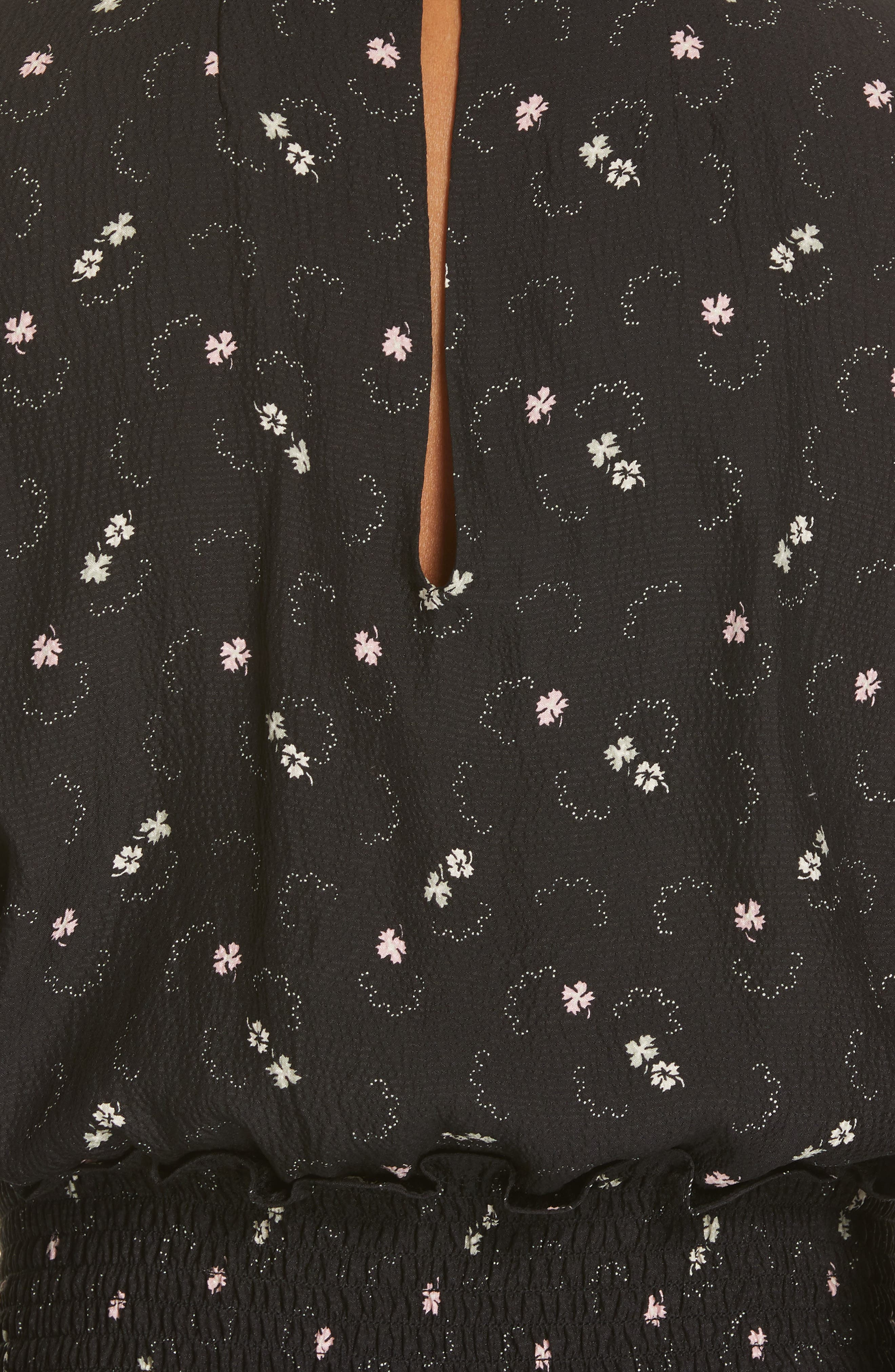 REBECCA TAYLOR, Alisia Floral Jumpsuit, Alternate thumbnail 6, color, BLACK COMBO