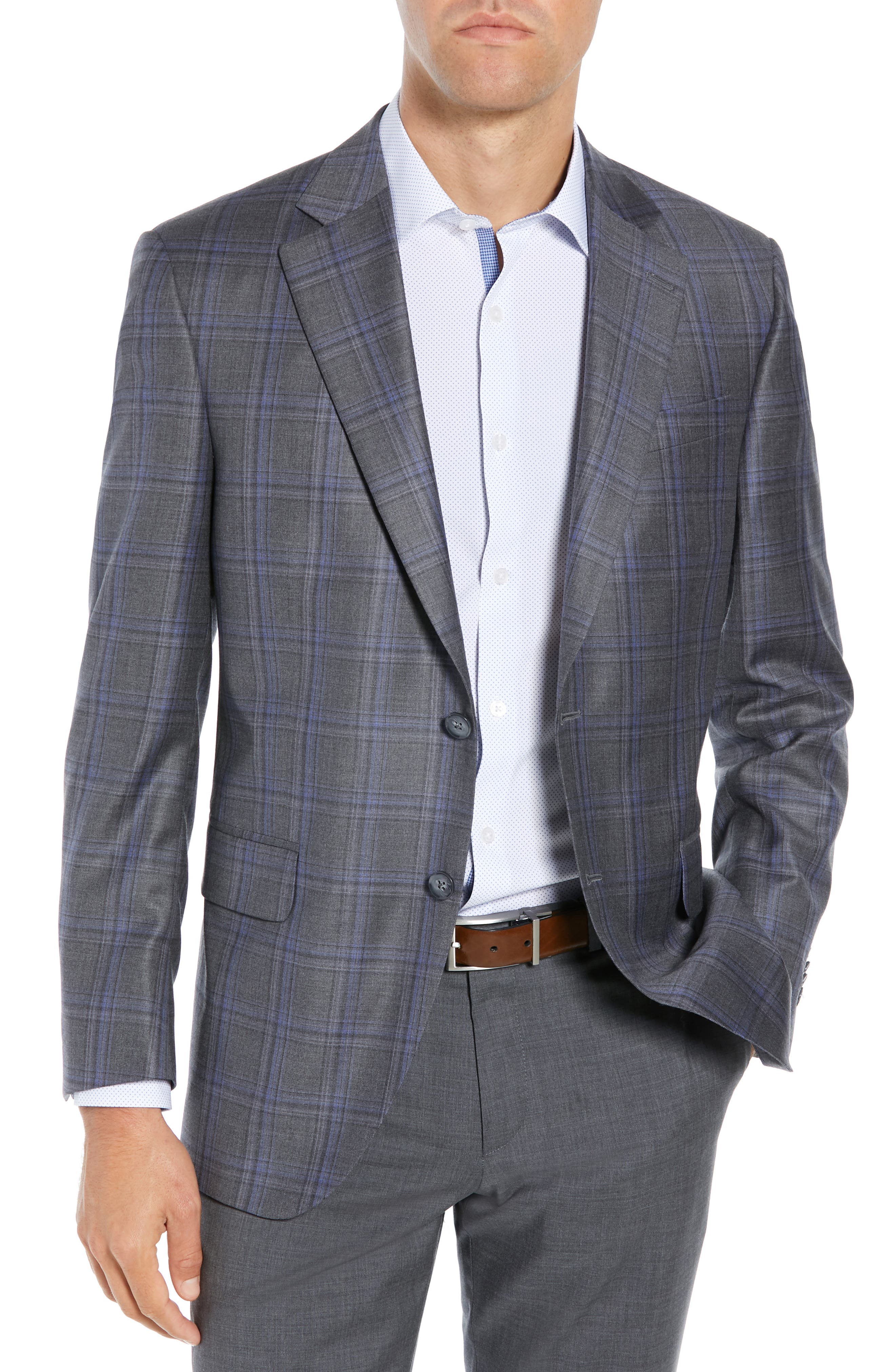 PETER MILLAR, Classic Fit Grey Plaid Sport Coat, Main thumbnail 1, color, GREY