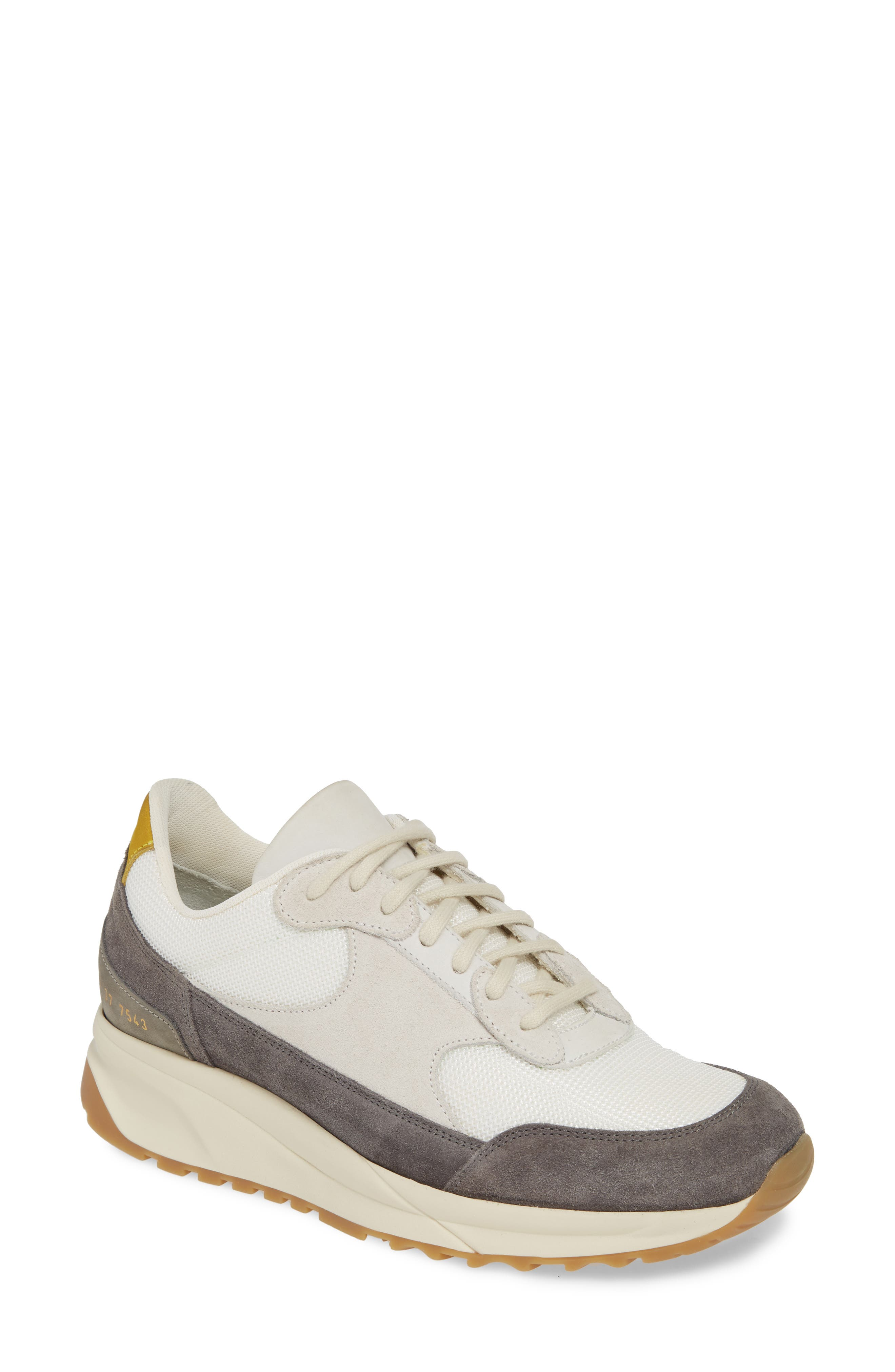 COMMON PROJECTS, New Track Sneaker, Main thumbnail 1, color, WHITE/ GREY