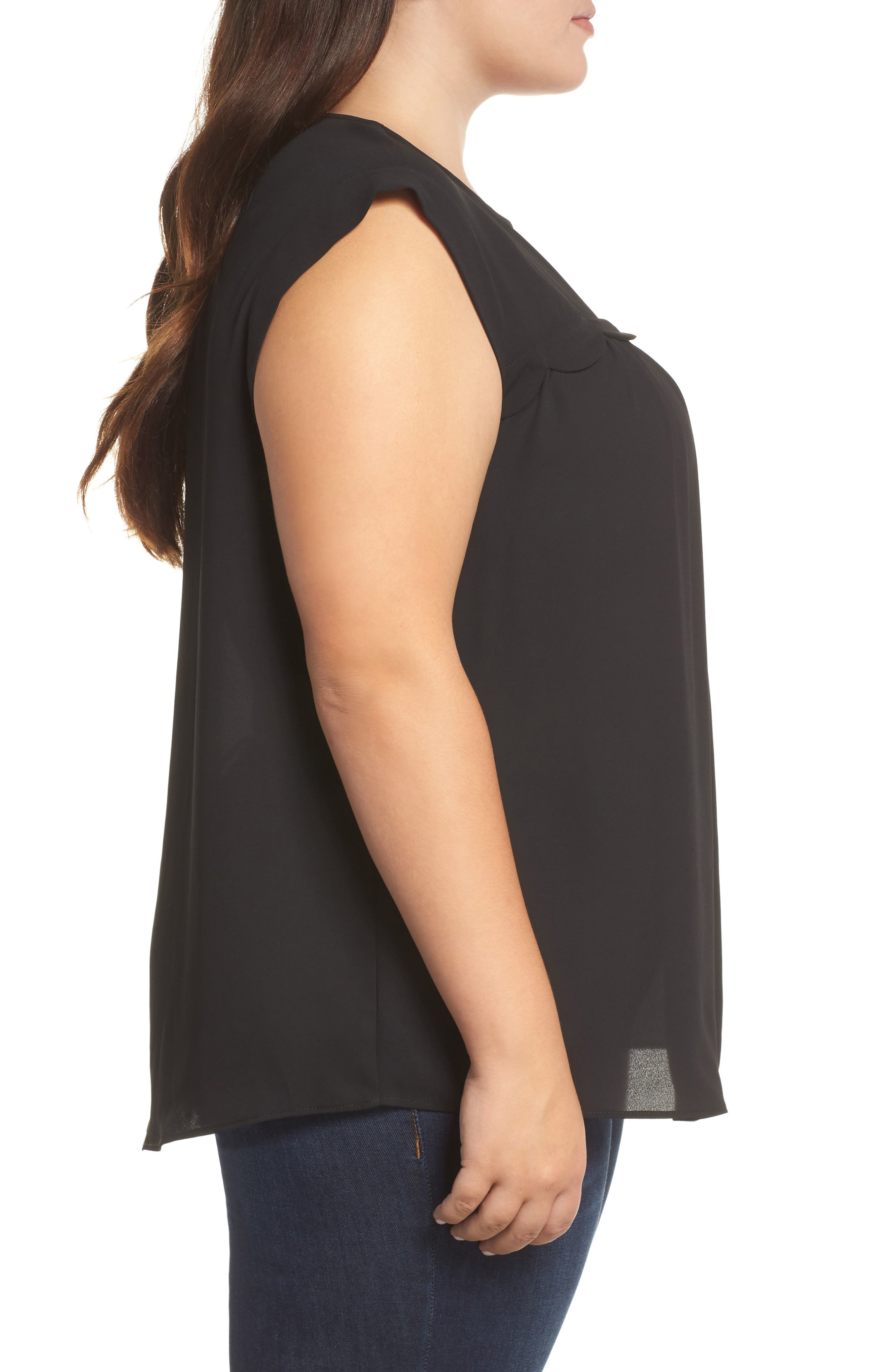 &.LAYERED, Scallop Trim Blouse, Alternate thumbnail 3, color, BLACK