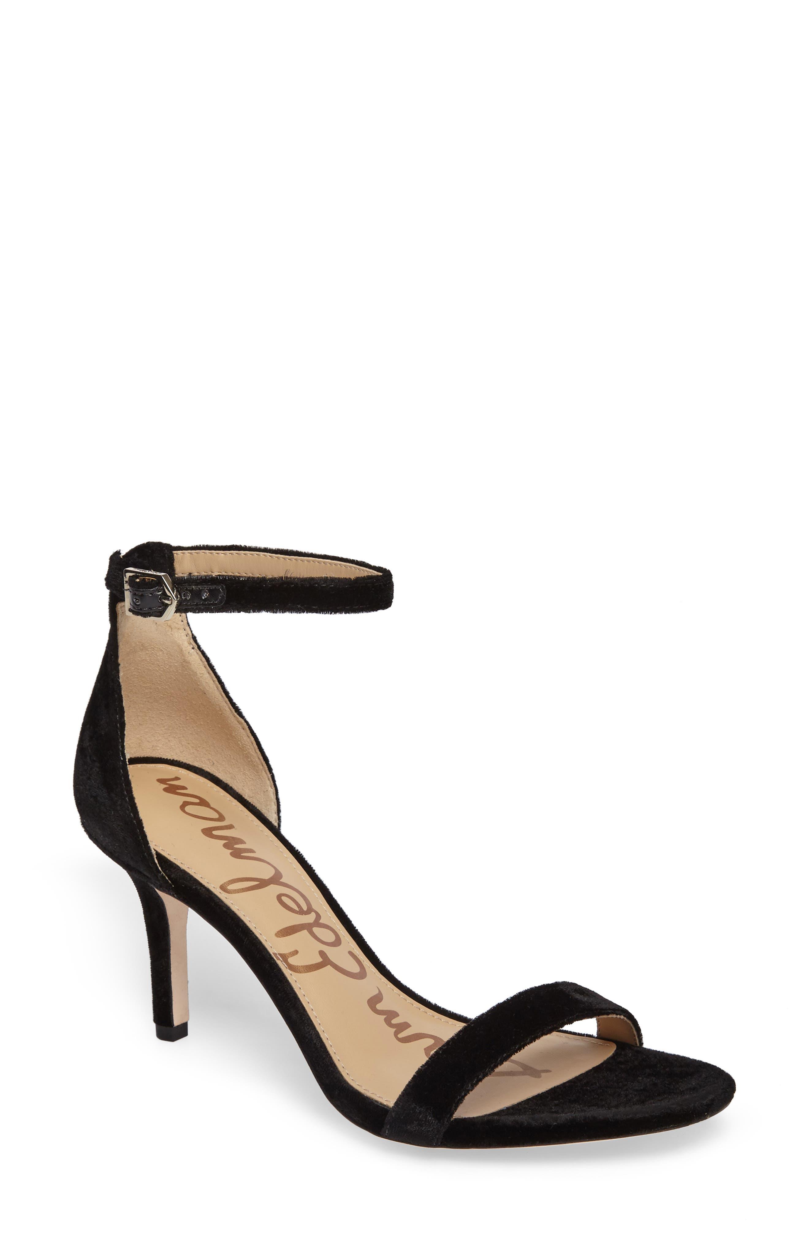 SAM EDELMAN, 'Patti' Ankle Strap Sandal, Main thumbnail 1, color, BLACK VELVET