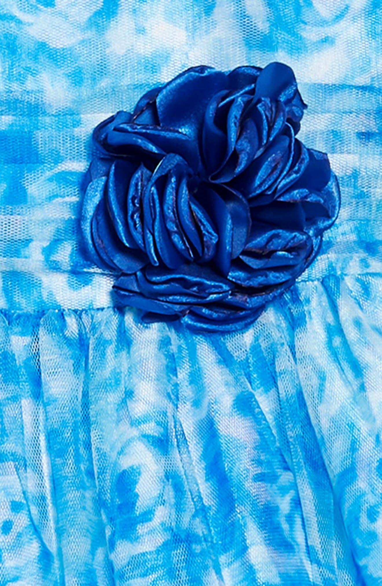 FRAIS, Rose Mesh Overlay Dress, Alternate thumbnail 3, color, BLUE
