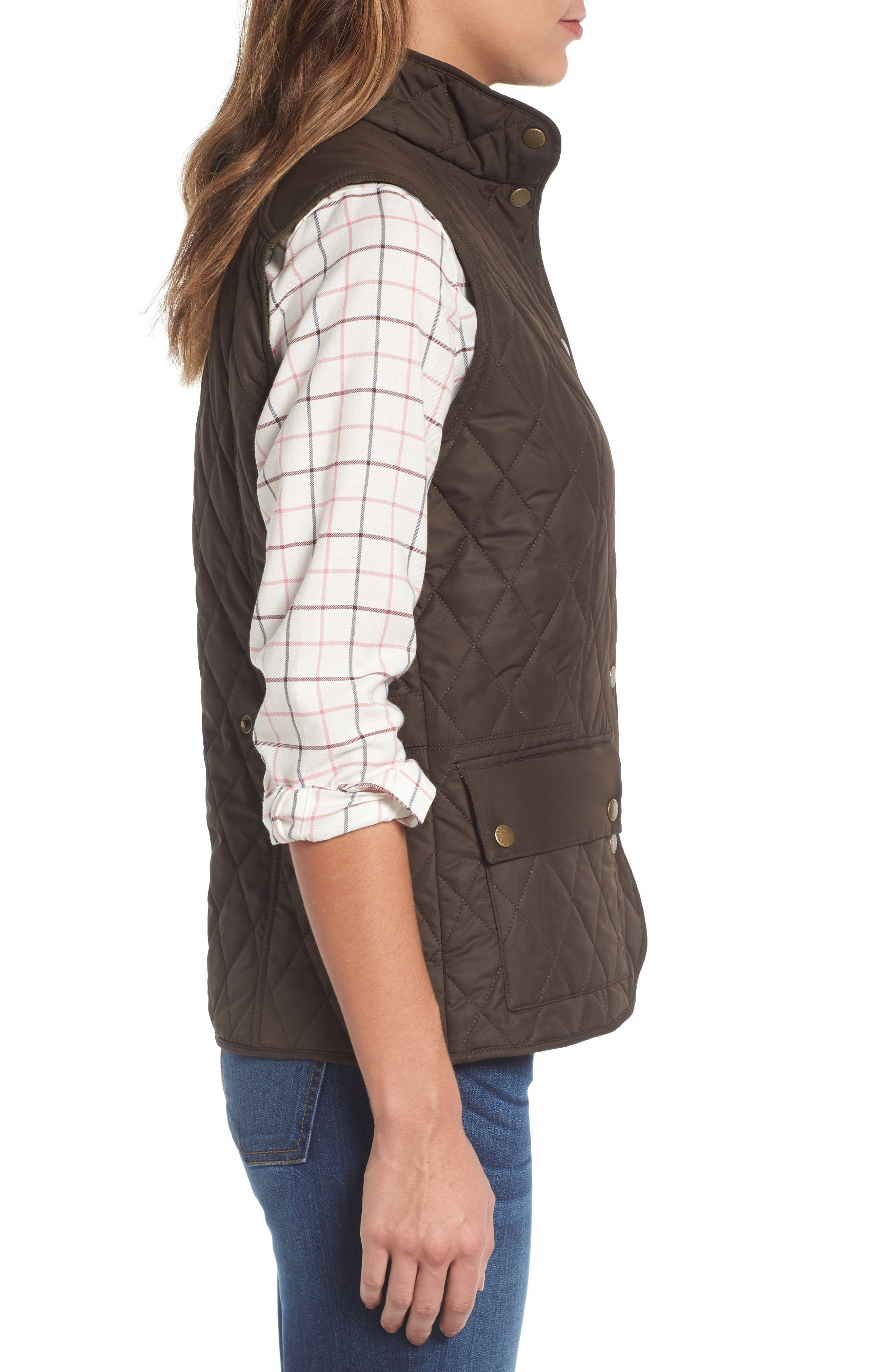 BARBOUR, Saddleworth Quilted Vest, Alternate thumbnail 3, color, 340