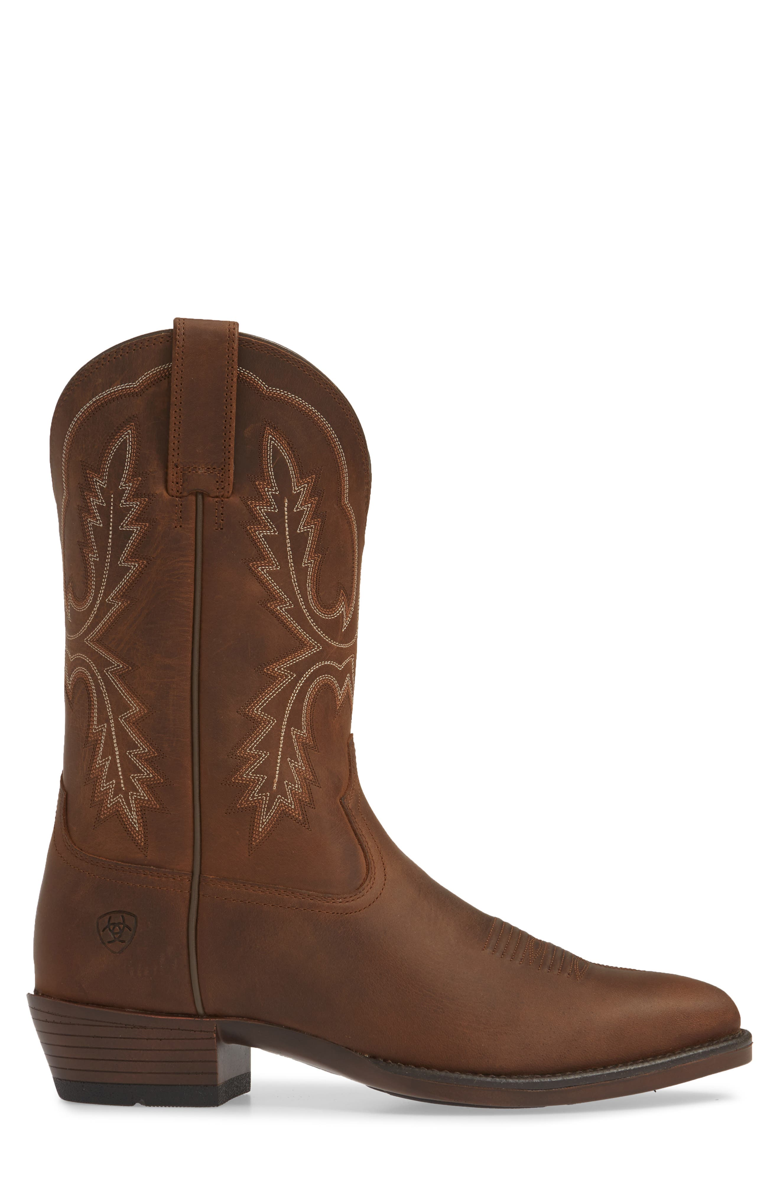 ARIAT, Bar Sour Cowboy Boot, Alternate thumbnail 3, color, DISTRESSED BROWN LEATHER