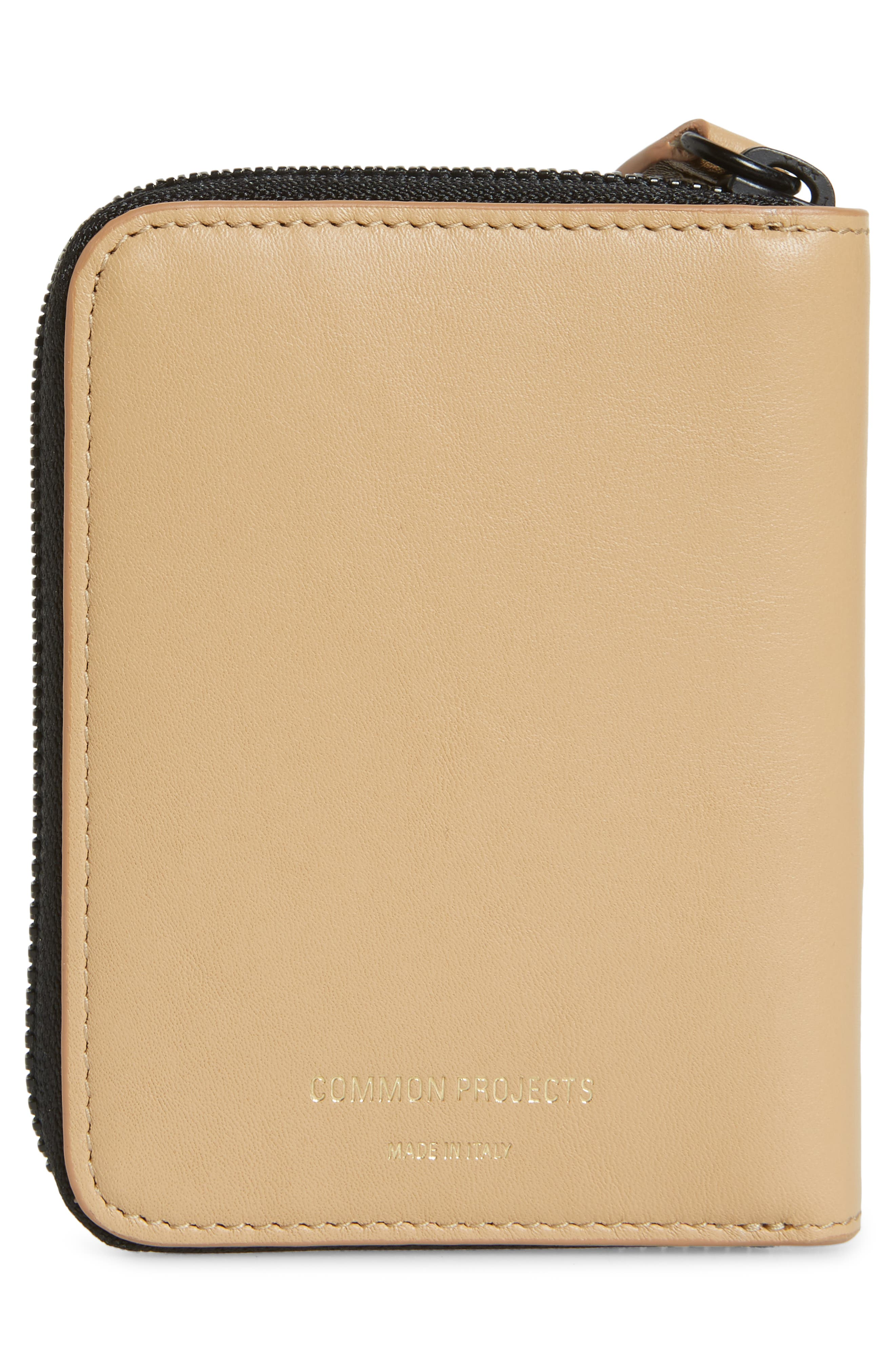 COMMON PROJECTS, Nappa Leather Zip Coin Case, Alternate thumbnail 3, color, TAN