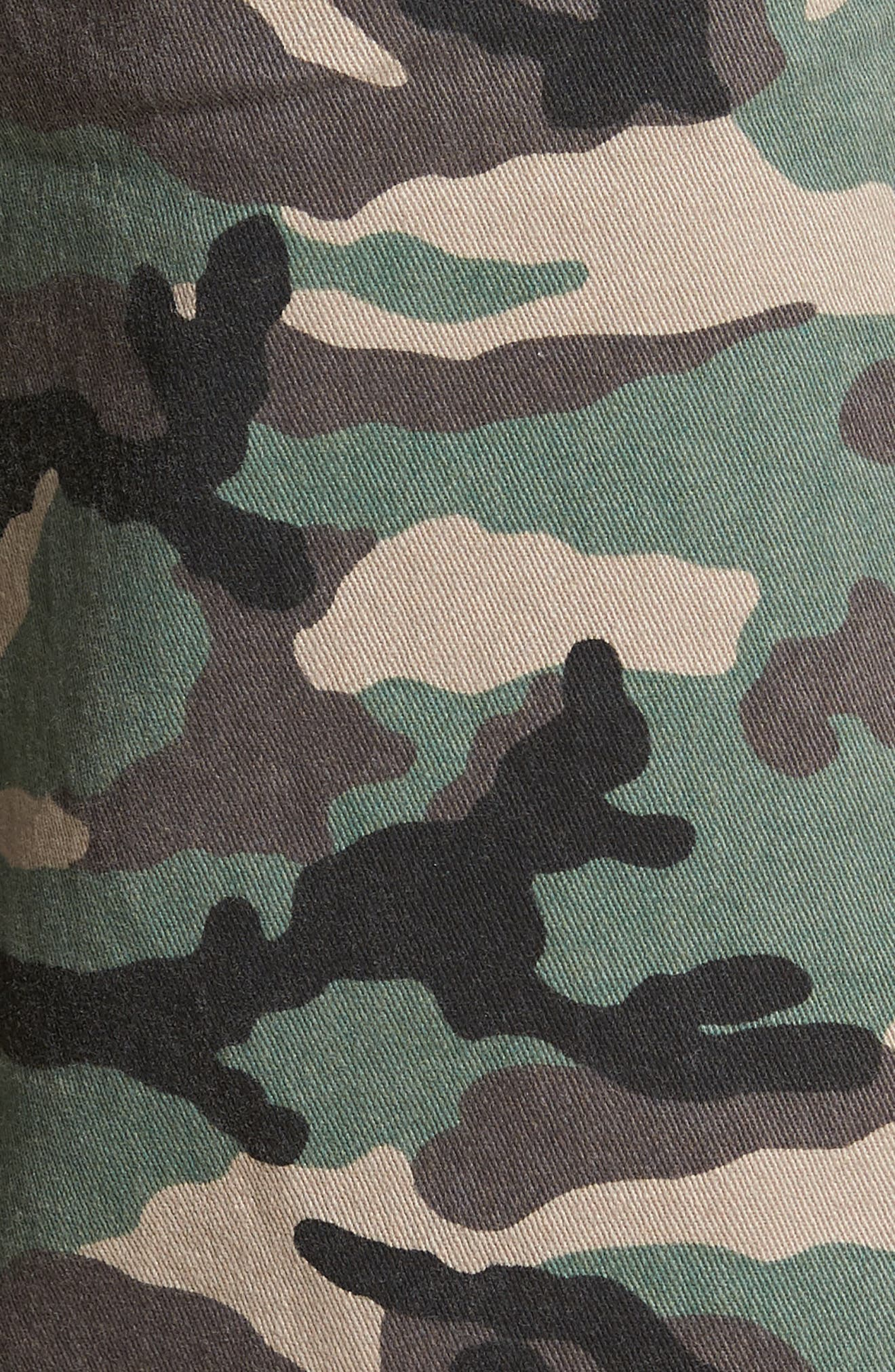 THE RAIL, Camo Print Cutoff Twill Shorts, Alternate thumbnail 5, color, BROWN GREEN CAMO