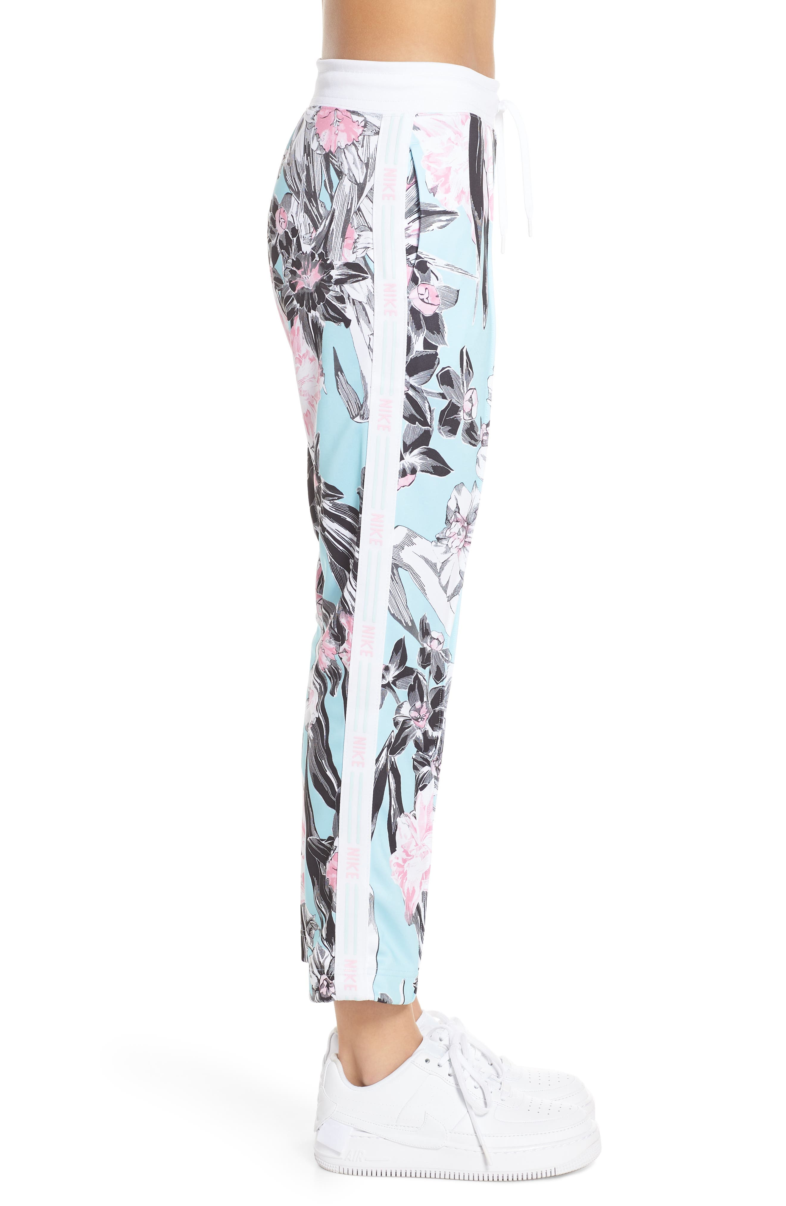 NIKE, Sportswear Floral Print Pants, Alternate thumbnail 5, color, TOPAZ MIST/ WHITE/ WHITE