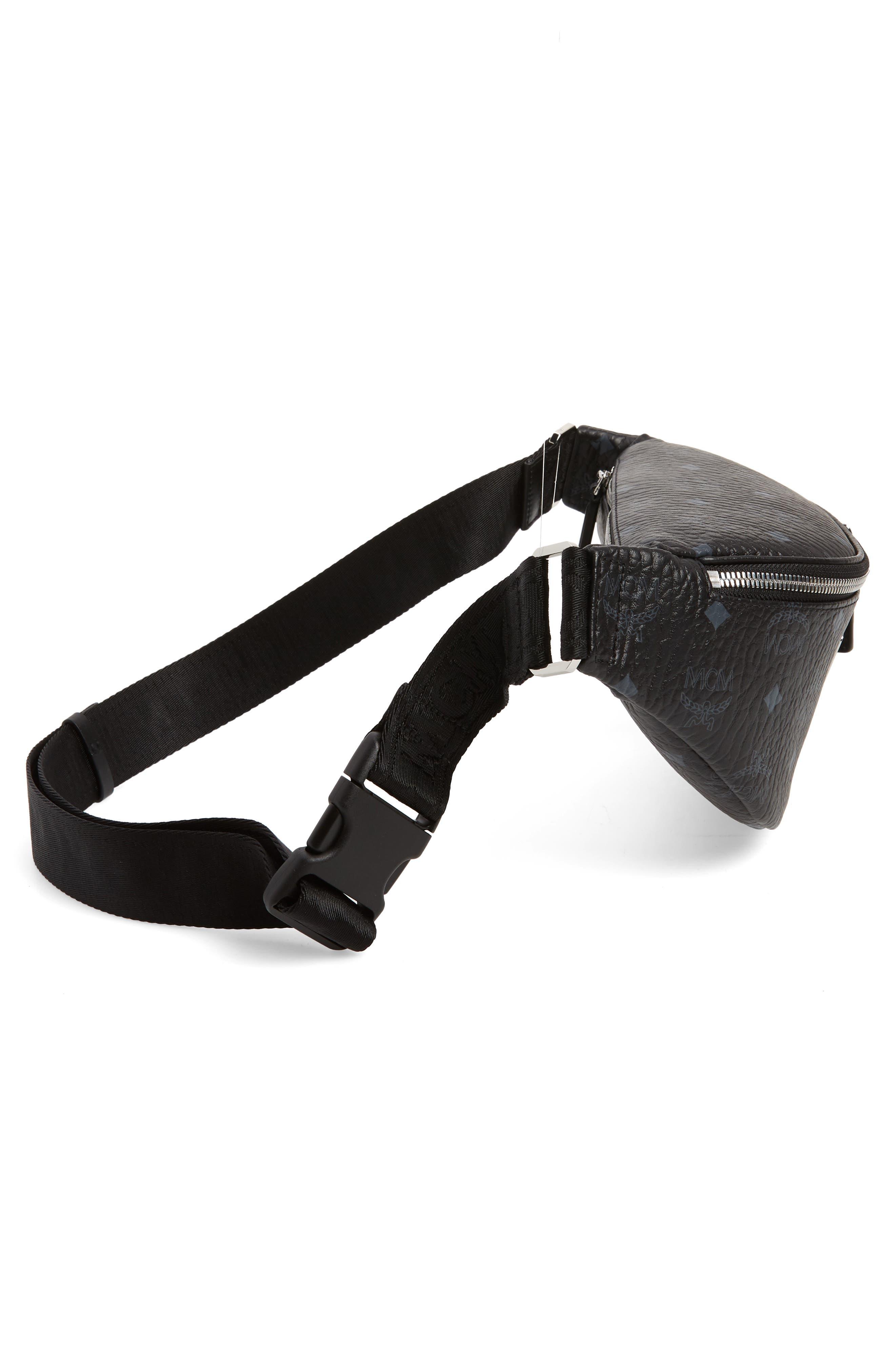 MCM, Fursten Visetos Small Belt Bag, Alternate thumbnail 7, color, BLACK