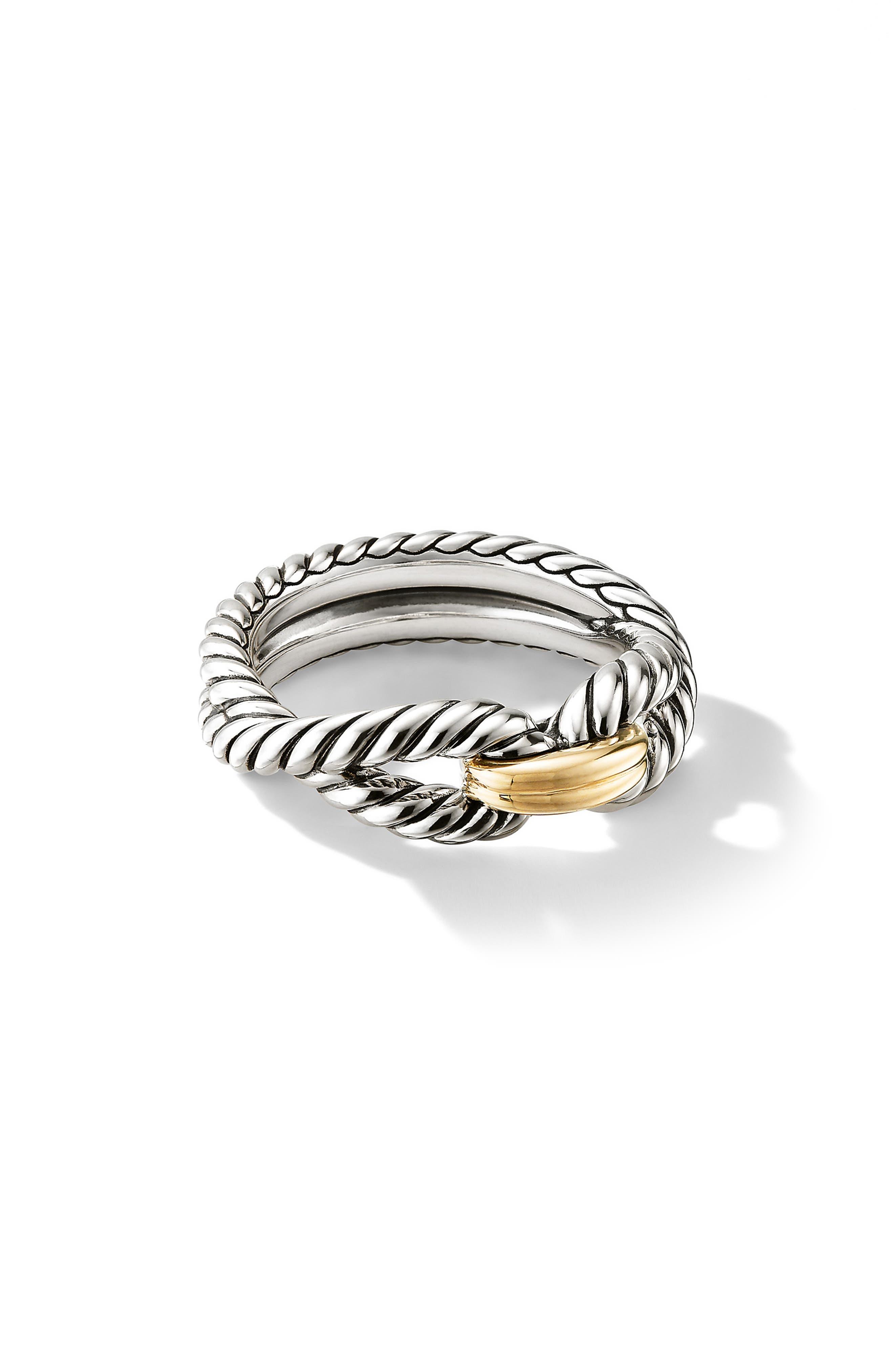 DAVID YURMAN, Cable Loop Ring with 18K Gold, Main thumbnail 1, color, YELLOW GOLD/ STERLING SILVER