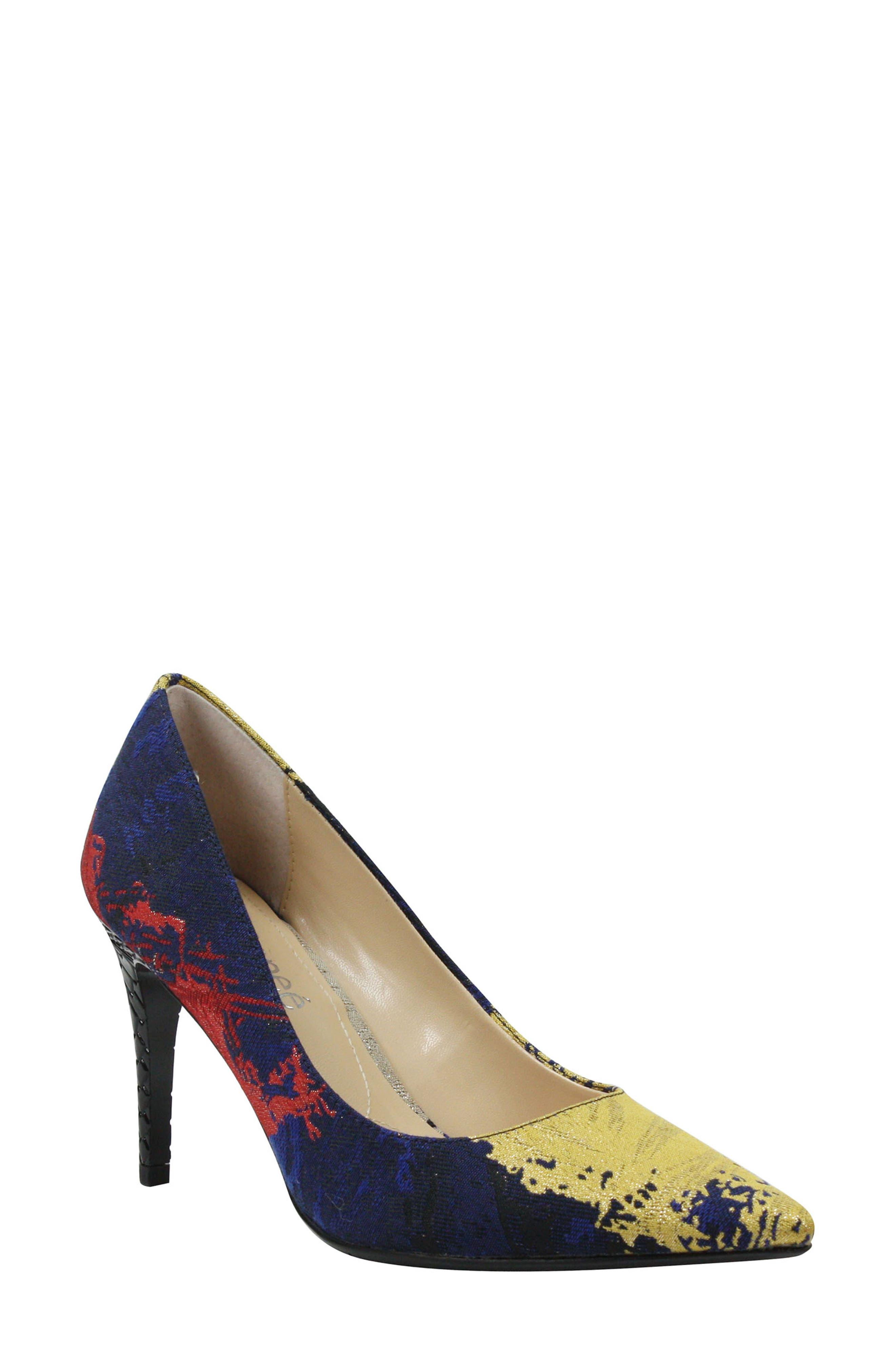 J. RENEÉ, 'Maressa' Pointy Toe Pump, Main thumbnail 1, color, BLUE/ BLACK MULTI