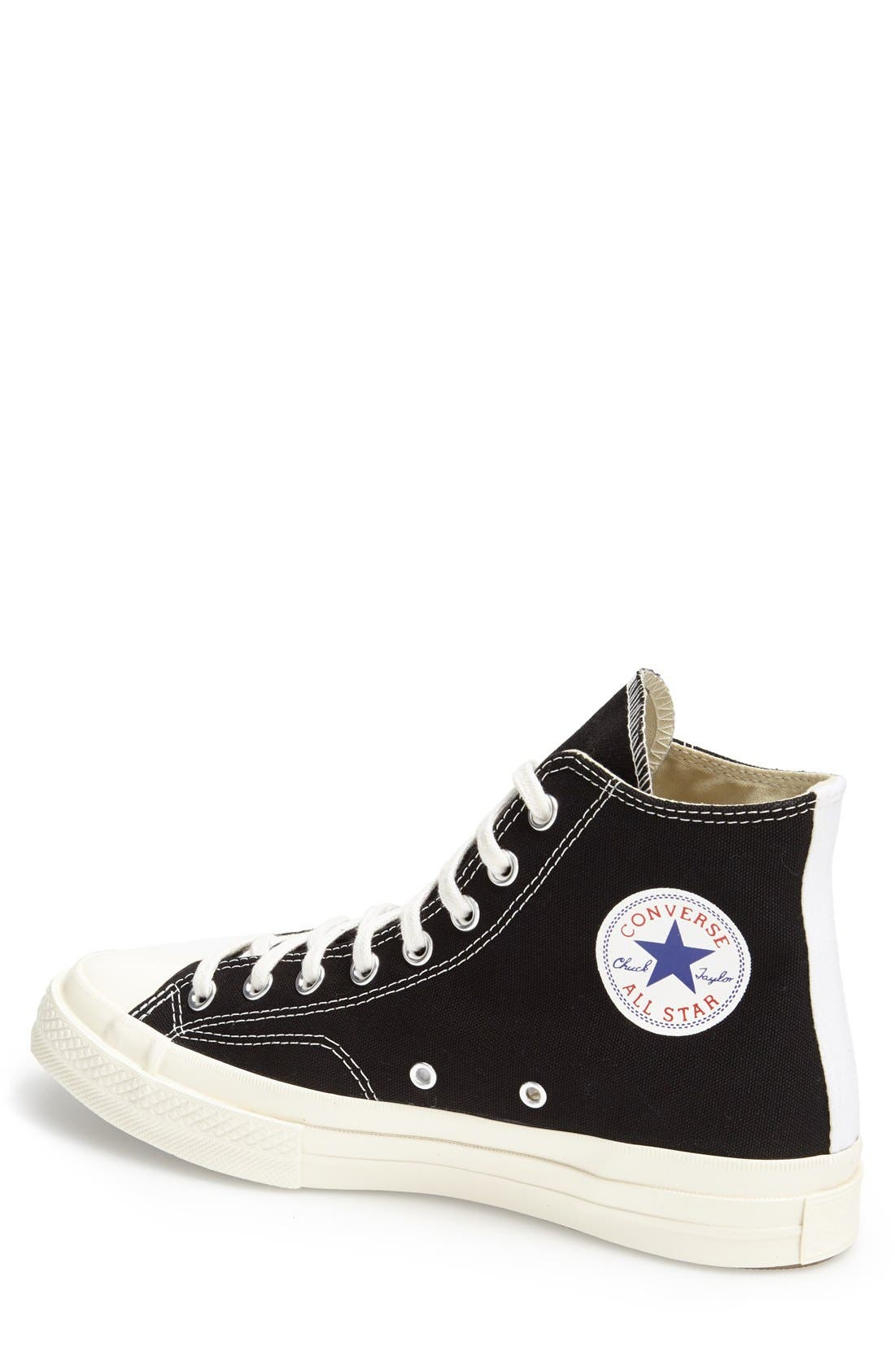 COMME DES GARÇONS, PLAY x Converse Chuck Taylor<sup>®</sup> Hidden Heart High Top Sneaker, Alternate thumbnail 4, color, BLACK CANVAS