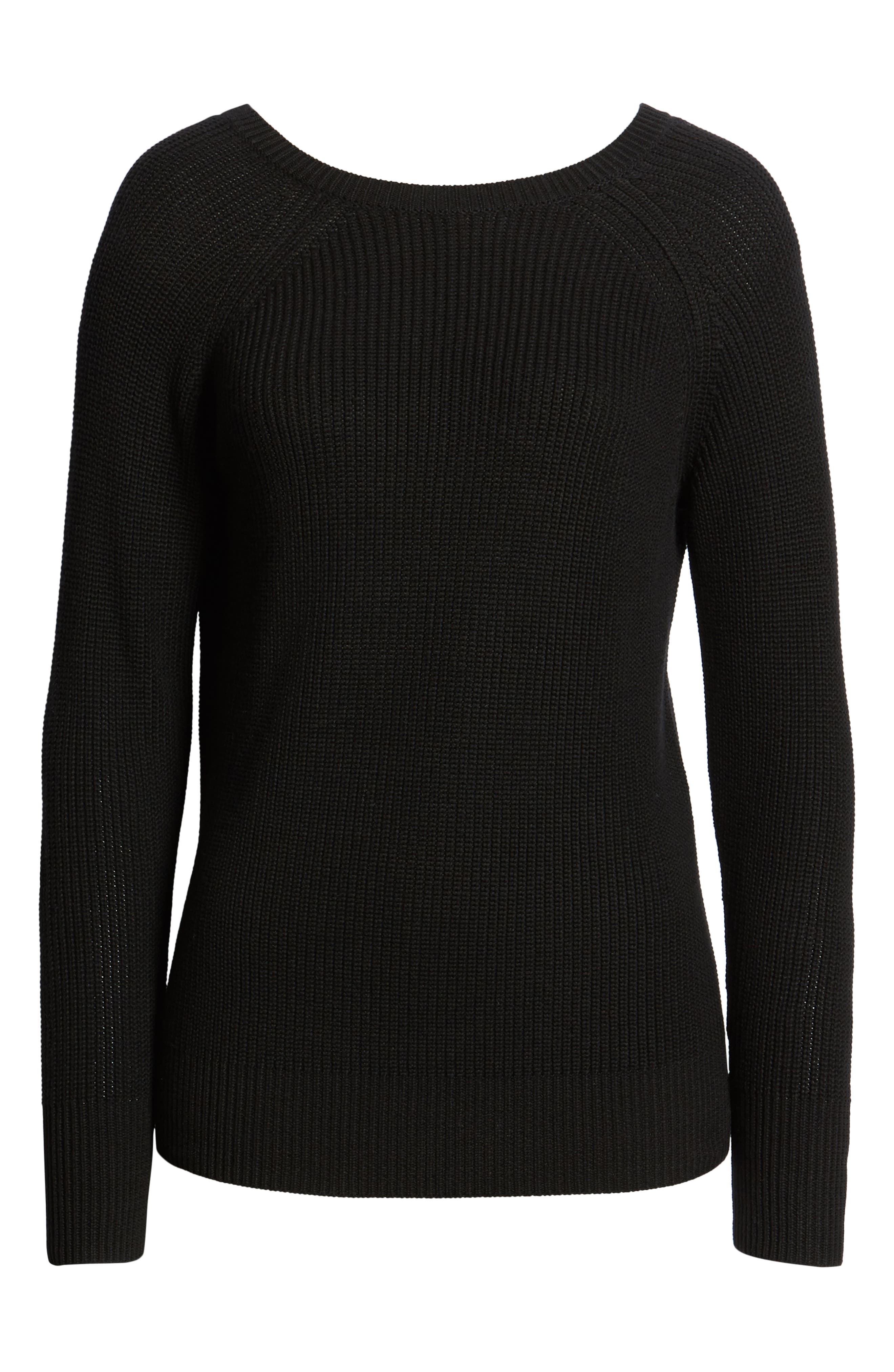 HALOGEN<SUP>®</SUP>, Cross Back Sweater, Alternate thumbnail 6, color, BLACK