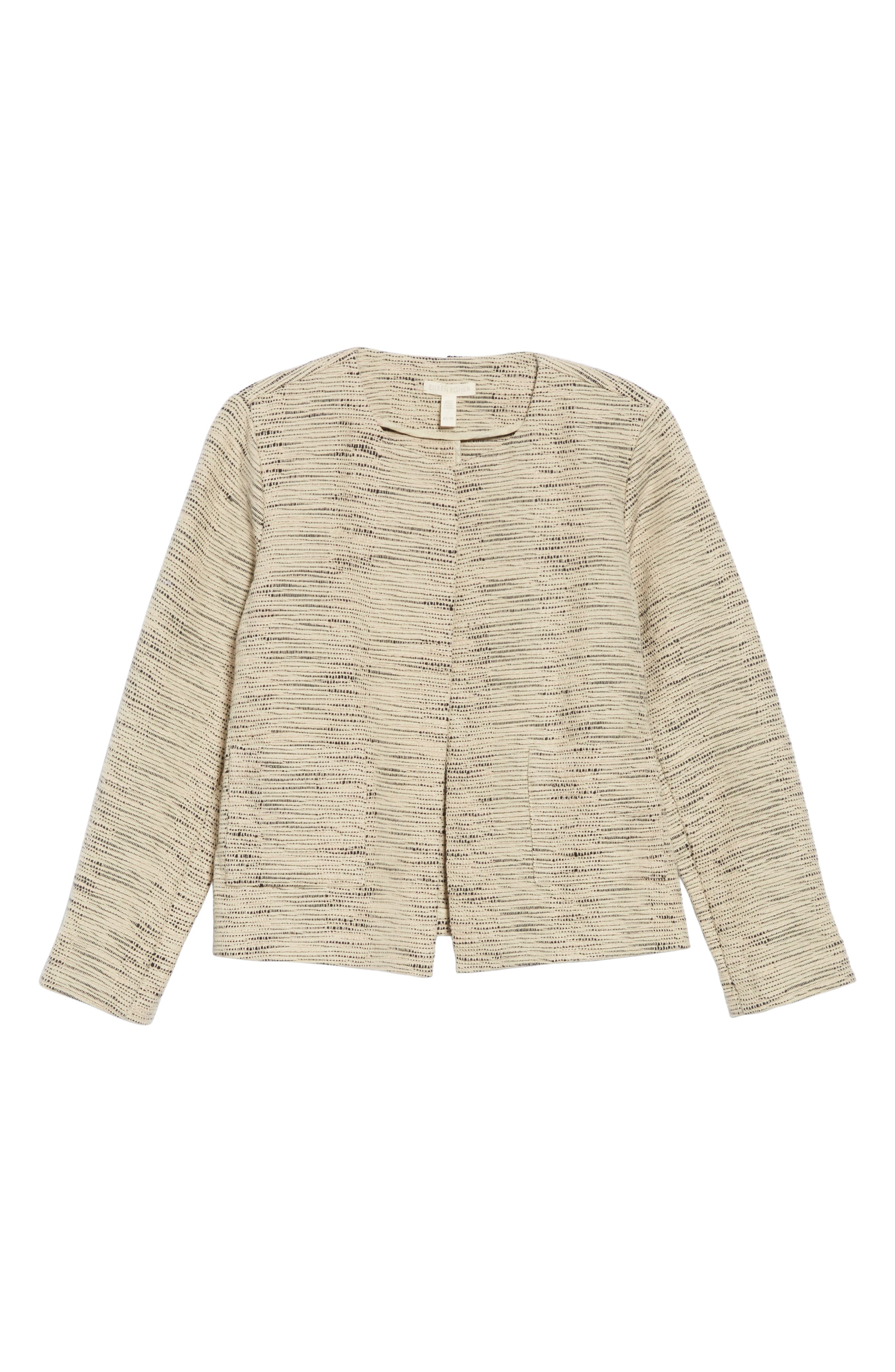 EILEEN FISHER, Woven Cotton Jacket, Alternate thumbnail 6, color, NATURAL