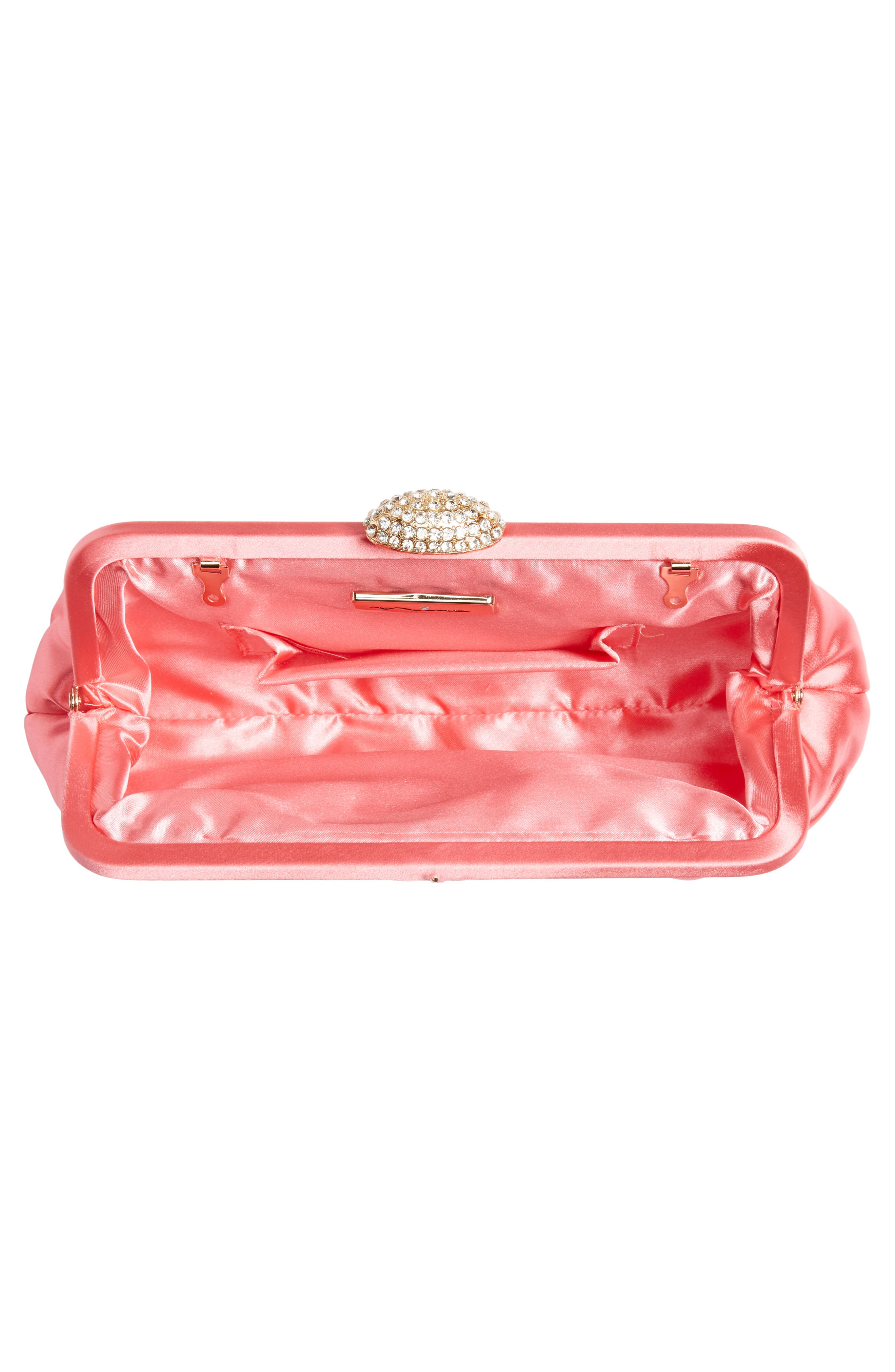 NINA, Concord Pleated Satin Frame Clutch, Alternate thumbnail 4, color, STRAWBERRY PUNCH