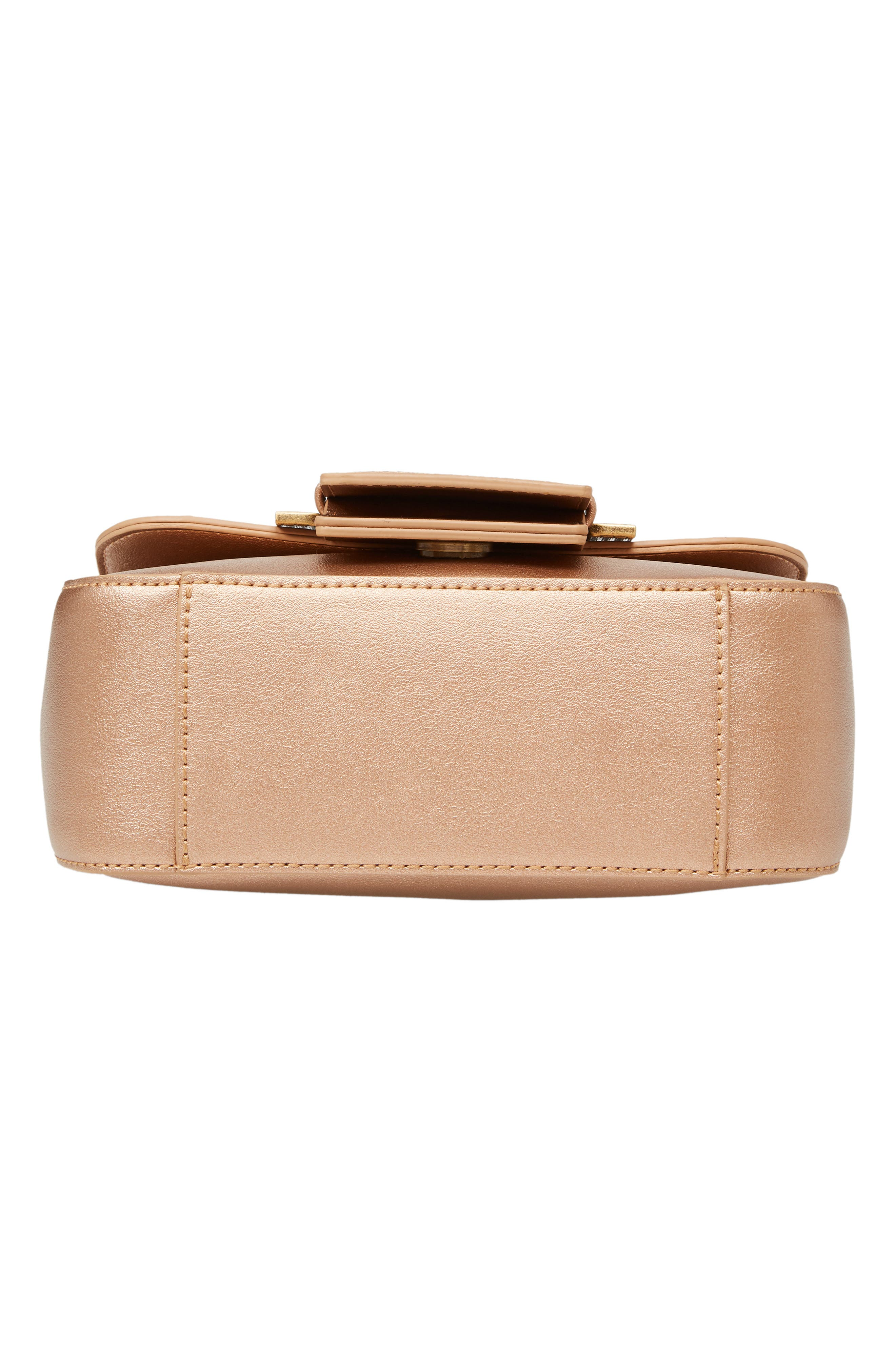 MALIBU SKYE, Oversize Buckle Top Handle Bag, Alternate thumbnail 7, color, ROSE GOLD