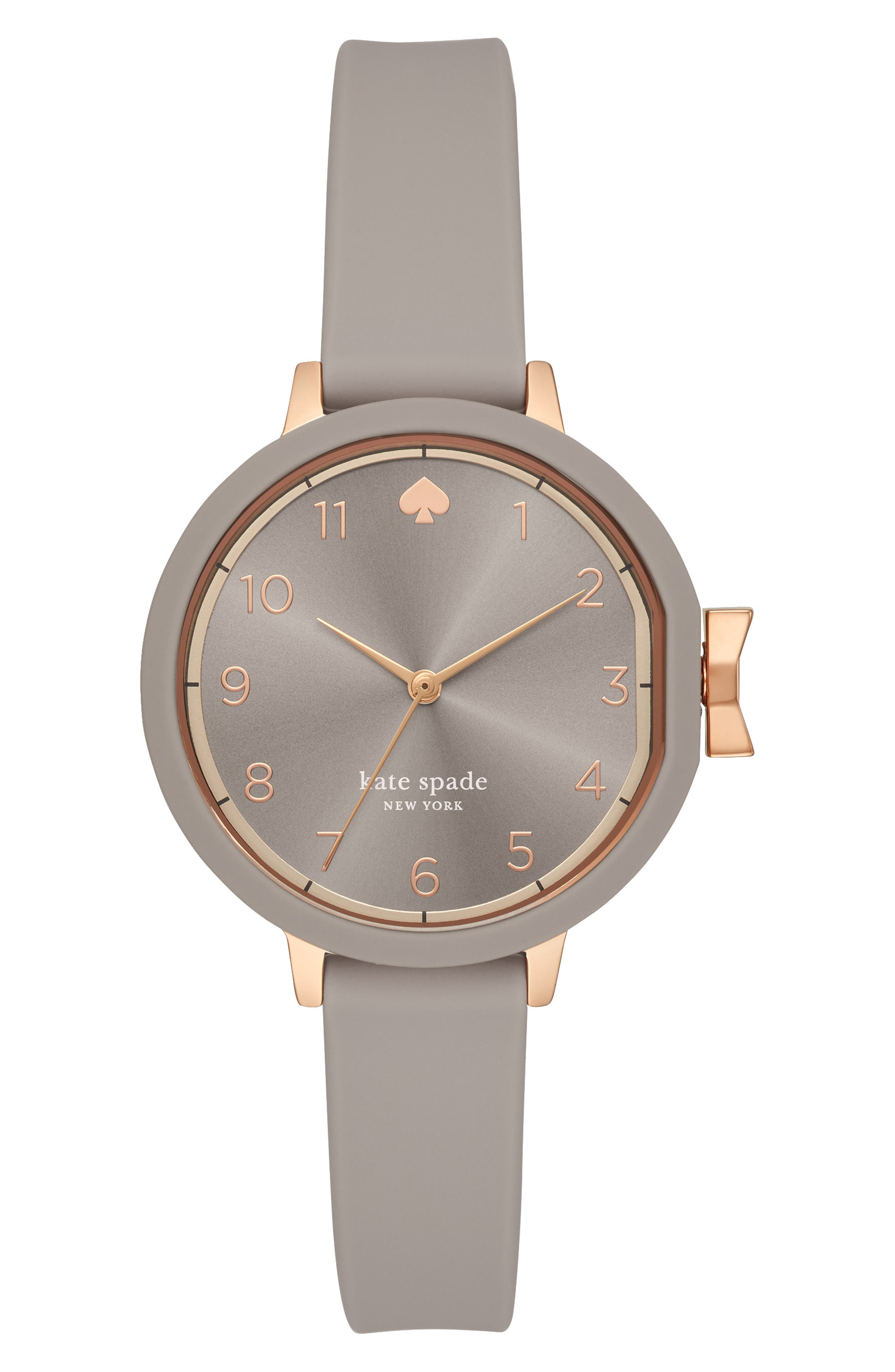 KATE SPADE NEW YORK park row silicone strap watch, 34mm, Main, color, GREY/ ROSE GOLD