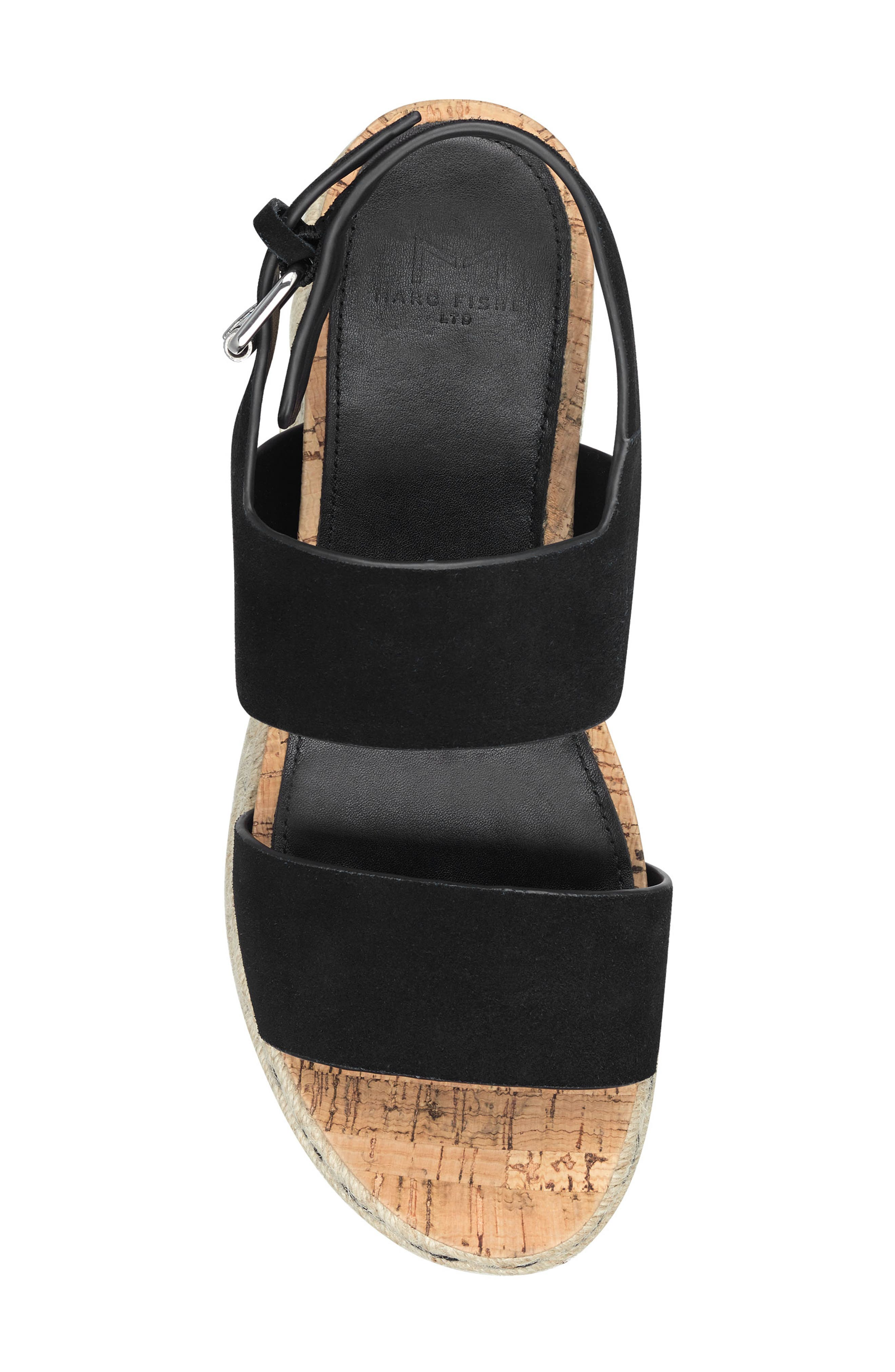 MARC FISHER LTD, Oria Espadrille Platform Sandal, Alternate thumbnail 5, color, BLACK SUEDE