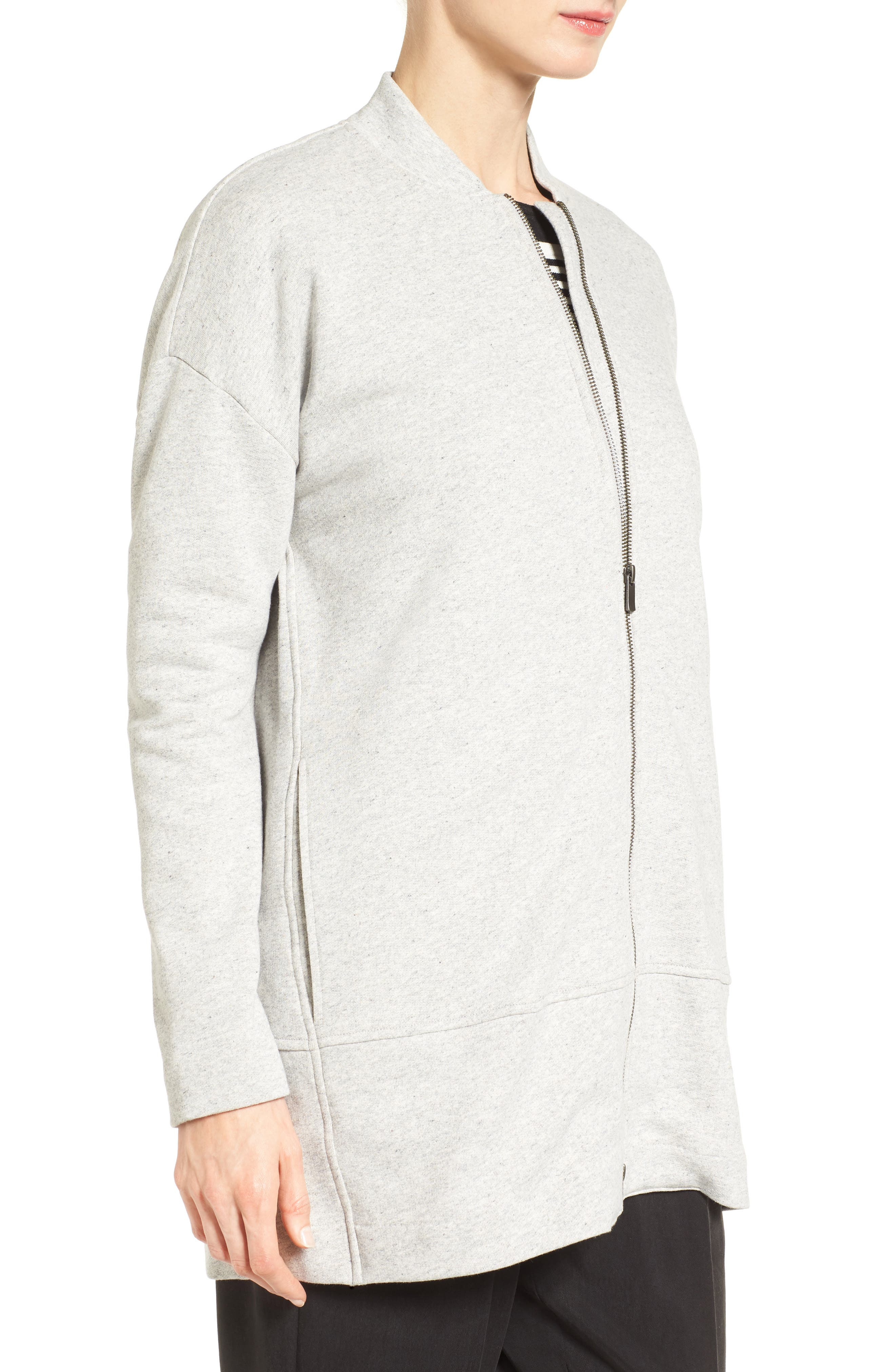 EILEEN FISHER, Brushed Back French Terry Jacket, Alternate thumbnail 4, color, DARK PEARL