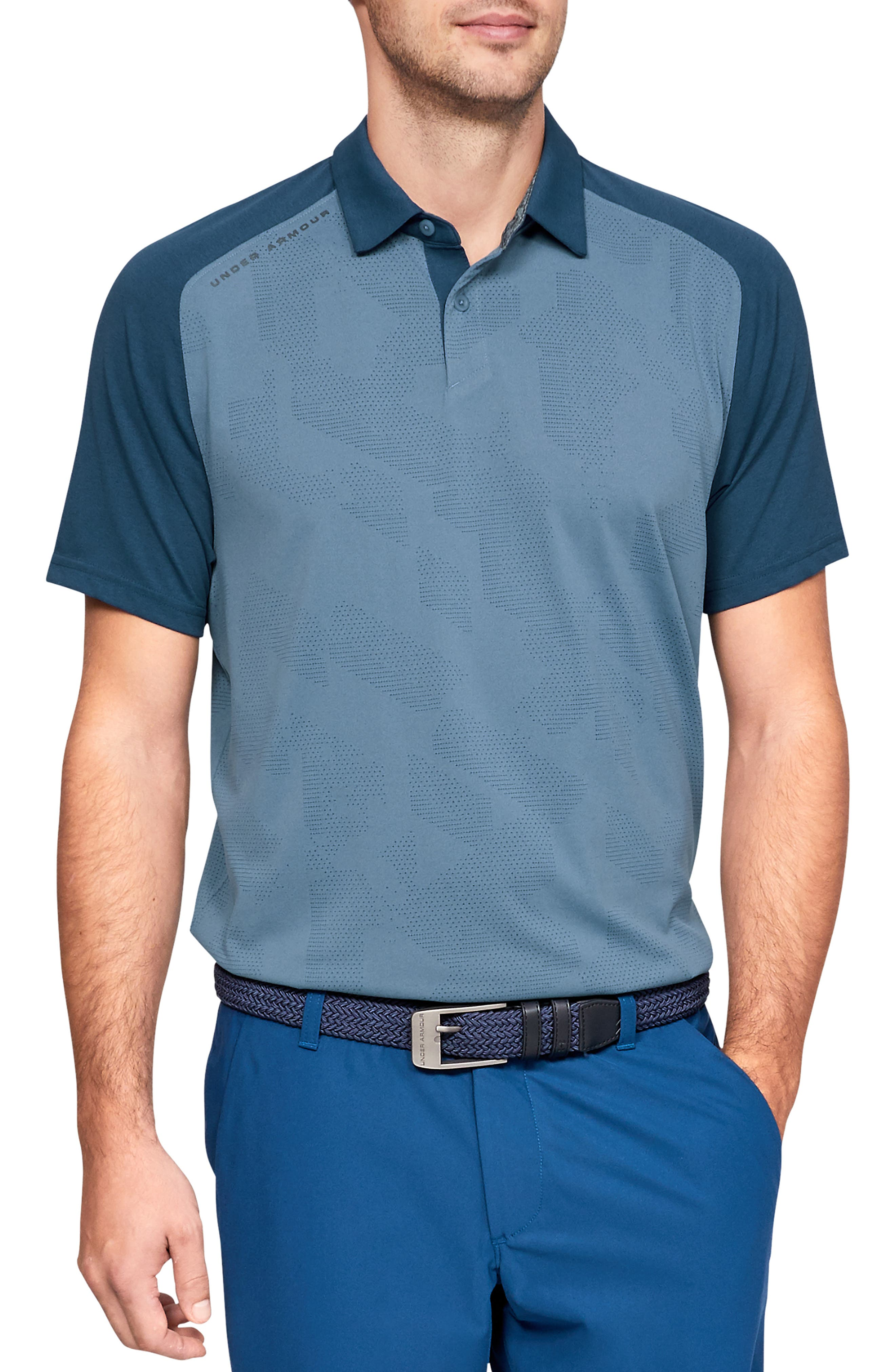 UNDER ARMOUR, Tour Tips Champion Loose Polo, Main thumbnail 1, color, THUNDER / / PITCH GRAY