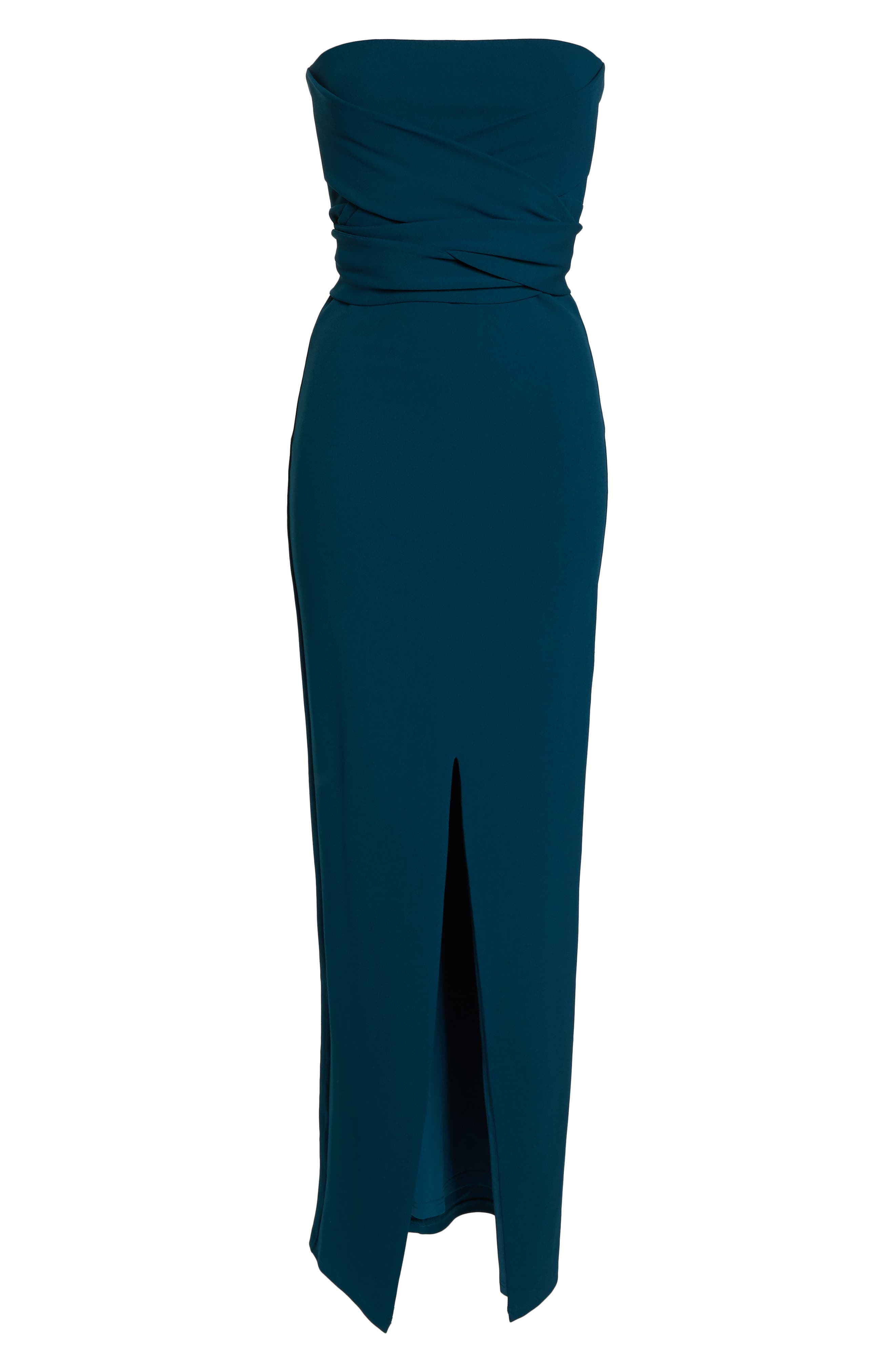 LULUS, Own the Night Strapless Maxi Dress, Alternate thumbnail 7, color, TURQUOISE