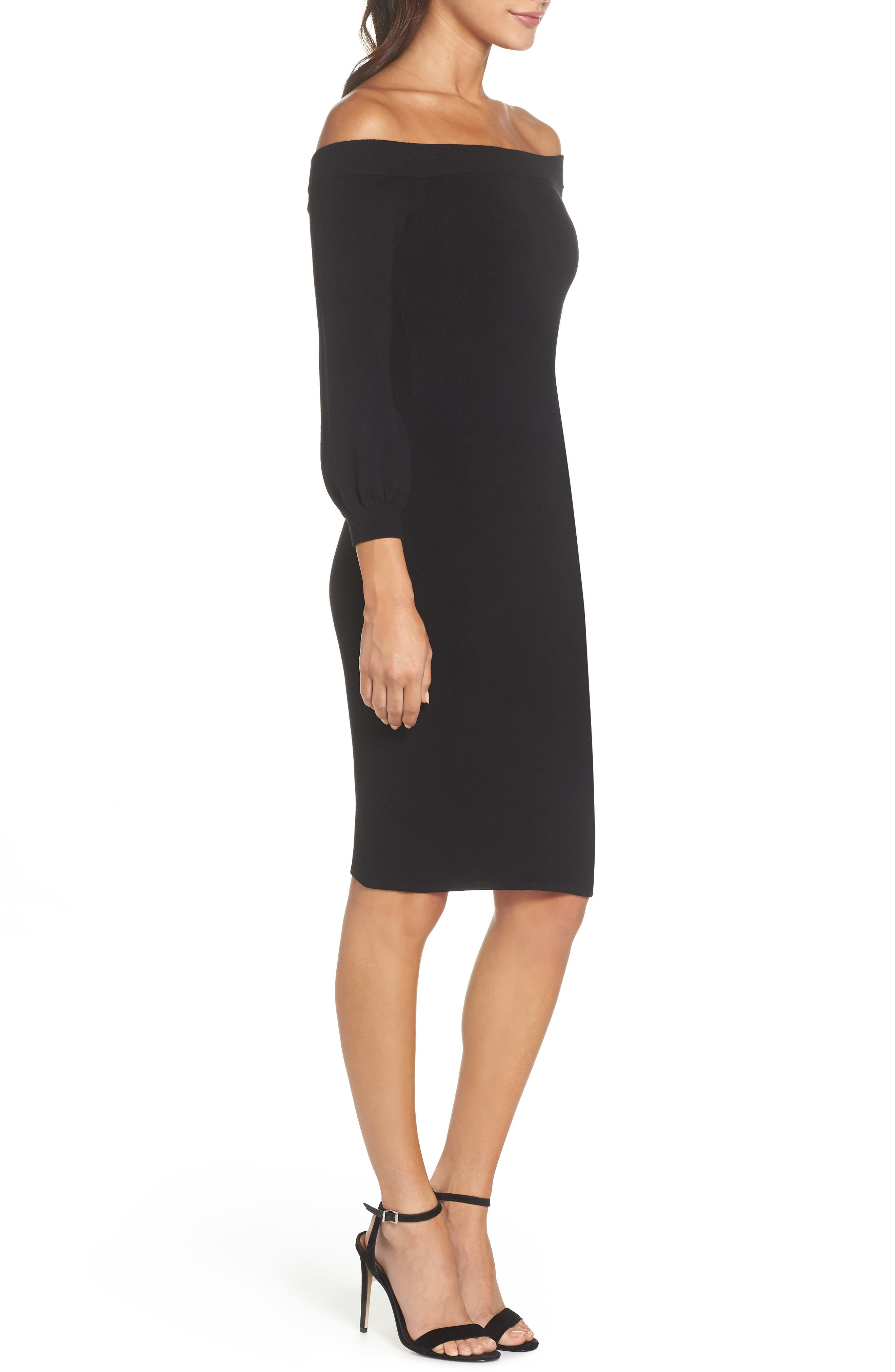 ALI & JAY, Standing Strong Off the Shoulder Midi Sweater Dress, Alternate thumbnail 4, color, 001