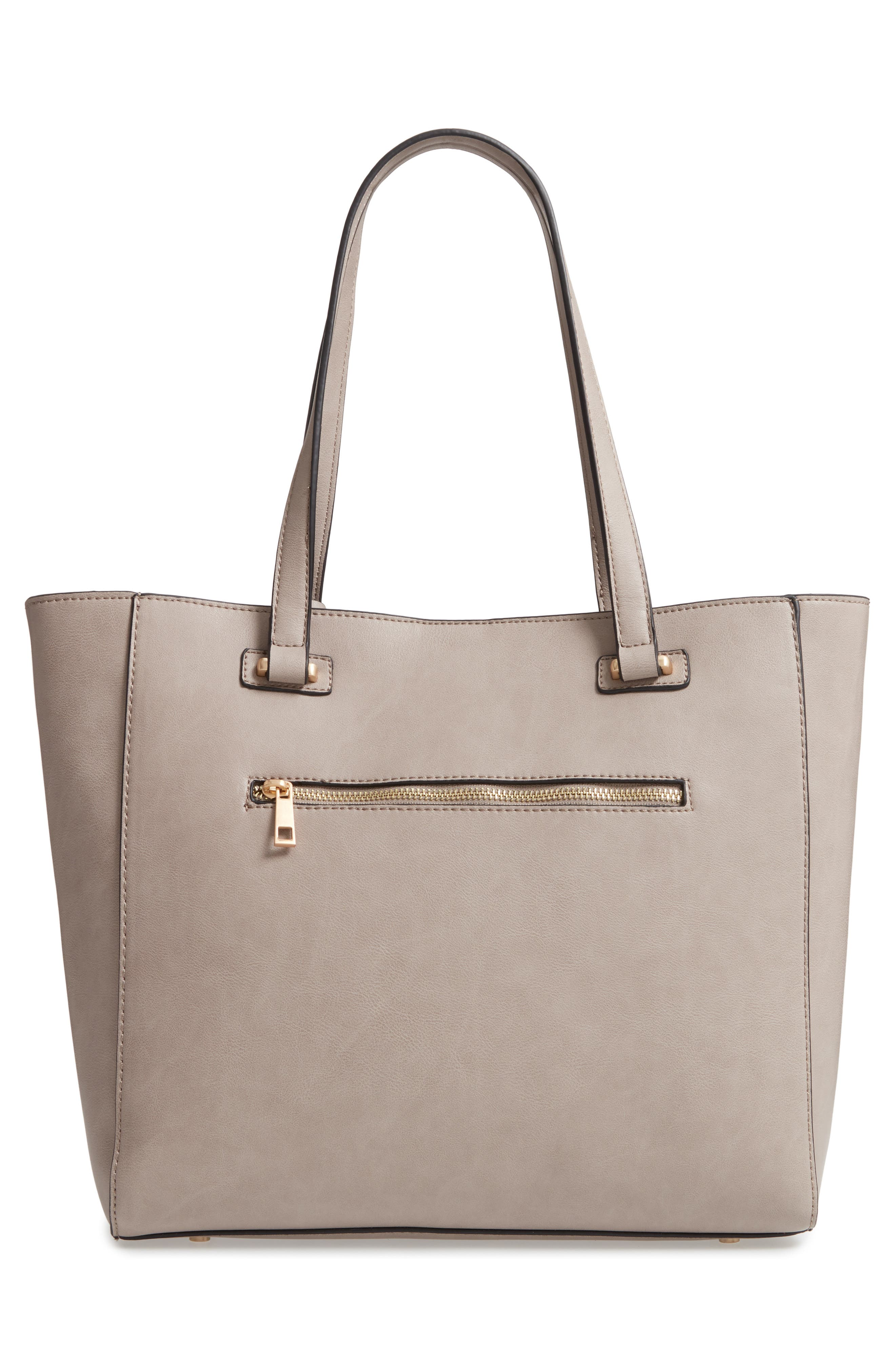SOLE SOCIETY, Alyn Faux Leather Tote, Alternate thumbnail 3, color, GRAVEL