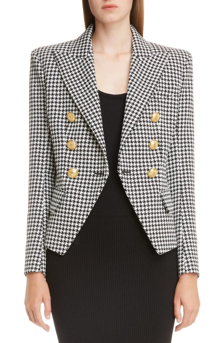 c4d6b3206 Double-Breasted Golden-Button Houndstooth Blazer, Black/White in Gray