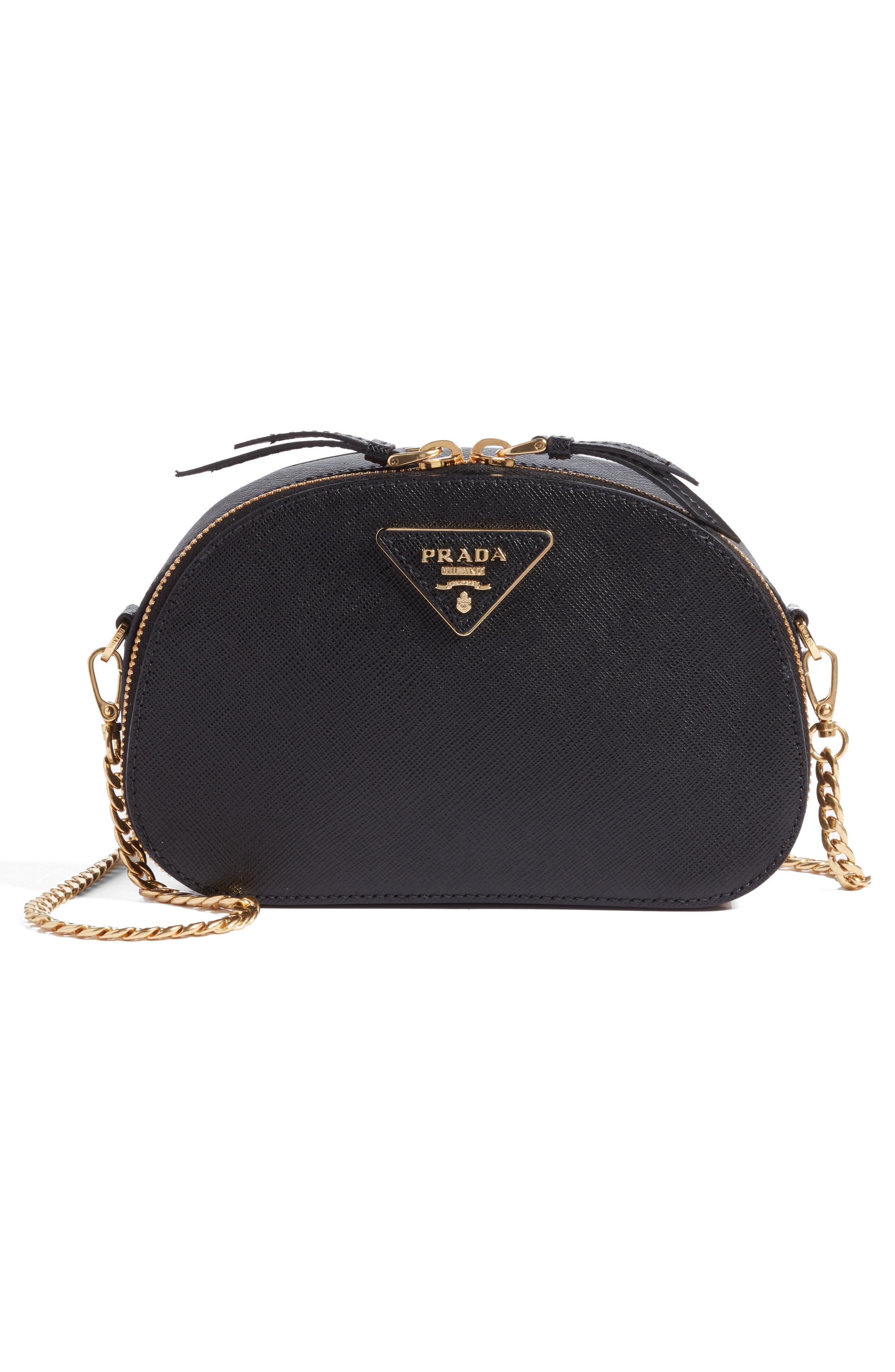 PRADA, Saffiano Leather Belt Bag, Alternate thumbnail 8, color, 001