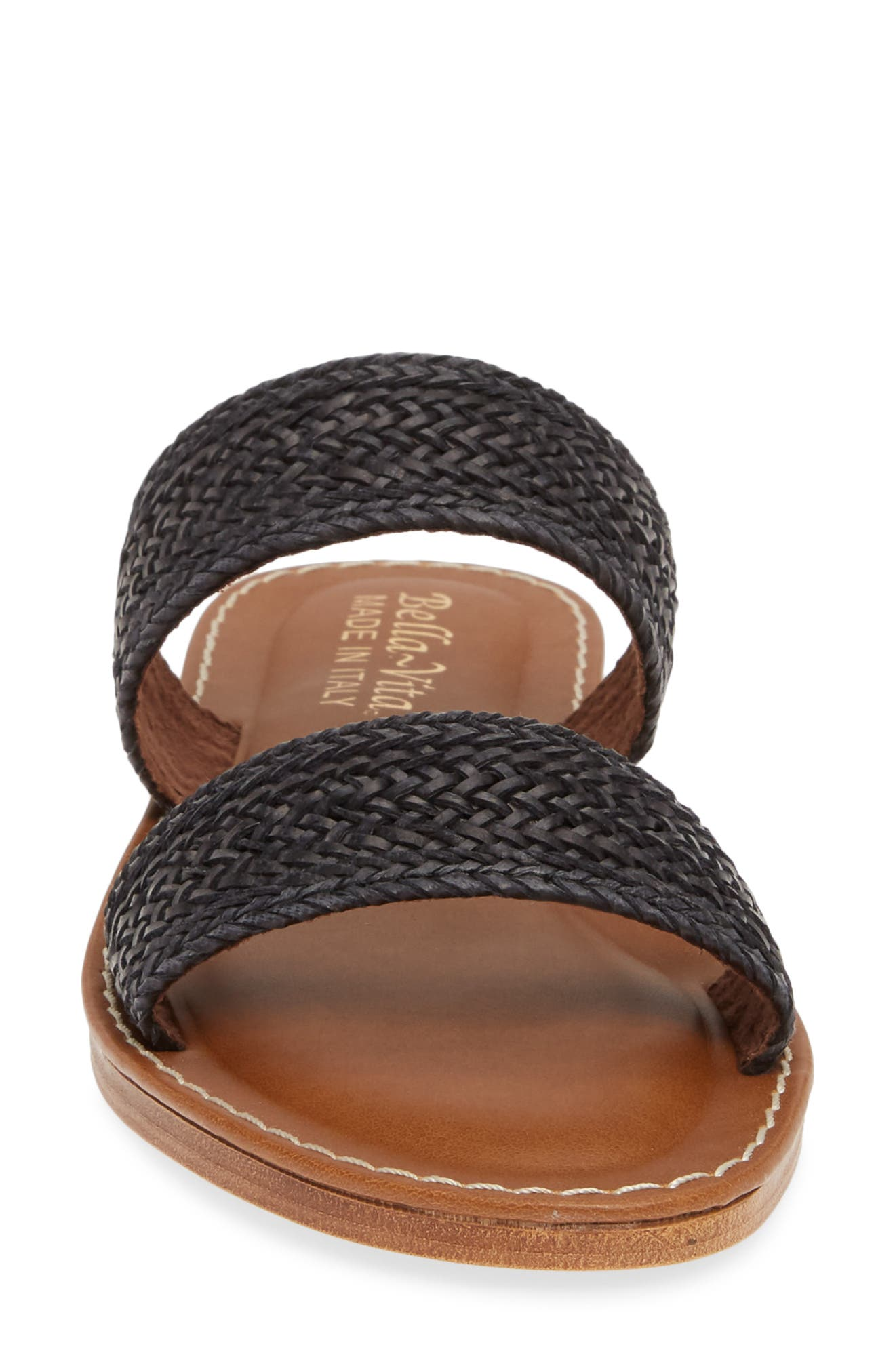 BELLA VITA, Two-Strap Slide Sandal, Alternate thumbnail 4, color, BLACK WOVEN