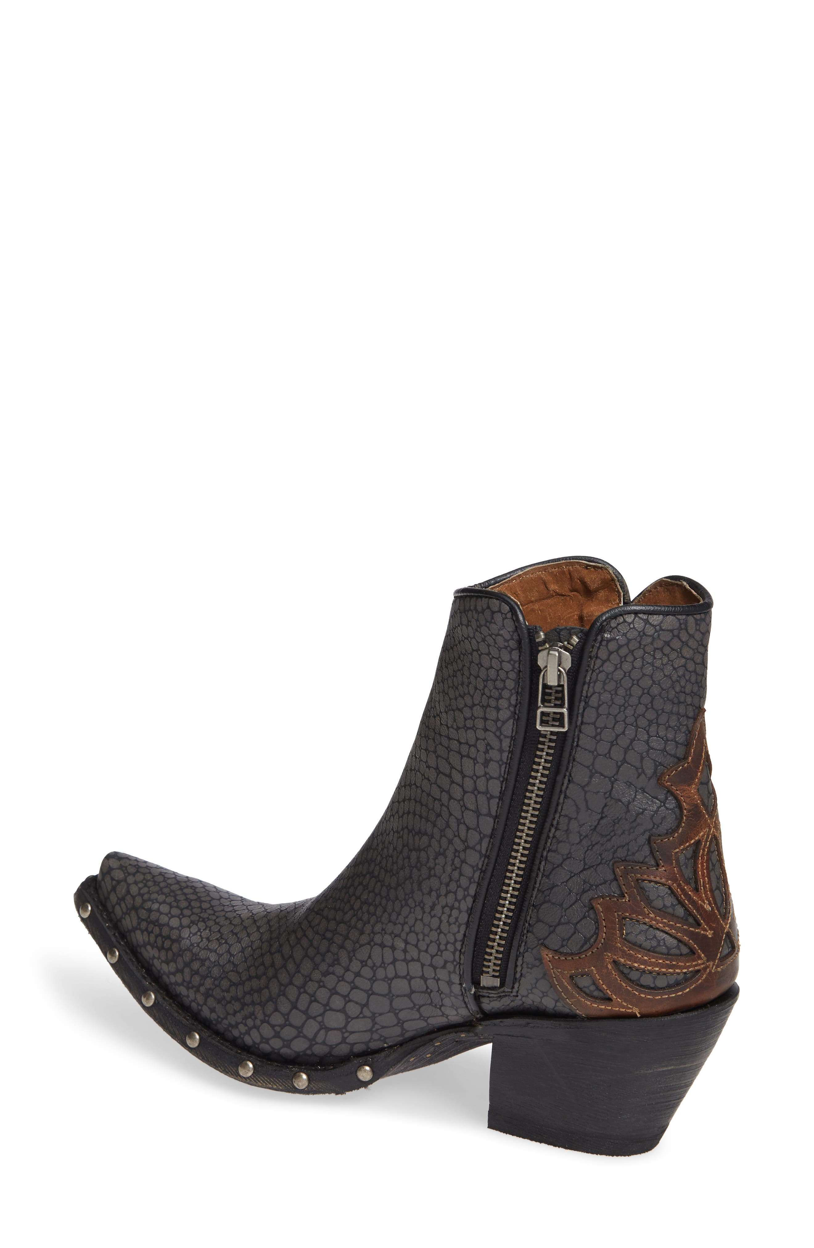ARIAT, Fenix Western Bootie, Alternate thumbnail 2, color, CHIC GREY CRACKLED TAN LEATHER
