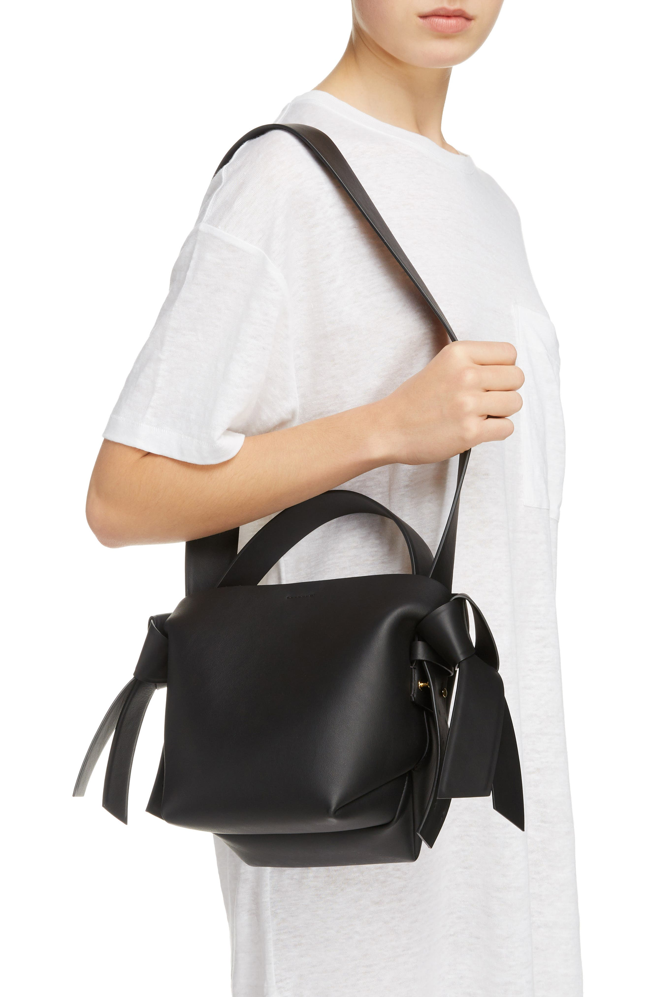 ACNE STUDIOS, Musubi Leather Mini Bag, Alternate thumbnail 2, color, BLACK