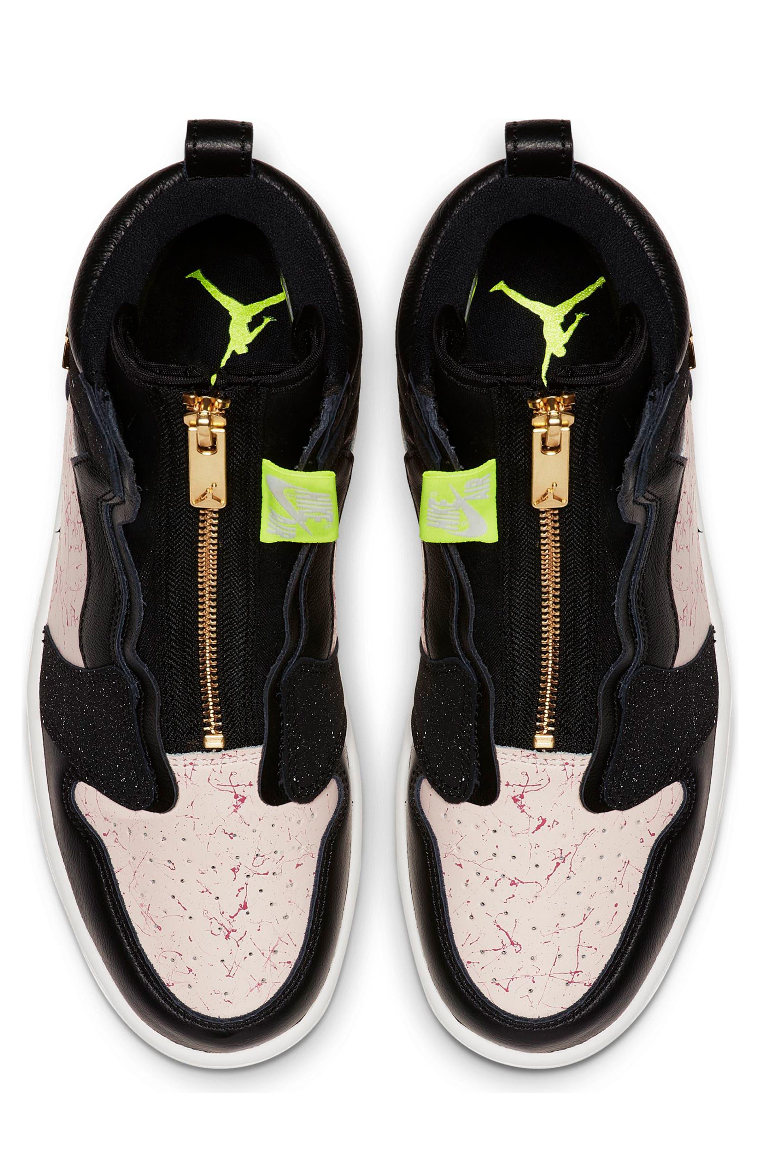 NIKE, Air Jordan 1 Zip High Top Sneakers, Alternate thumbnail 5, color, BLACK/ GOLD/ PHANTOM/ RED
