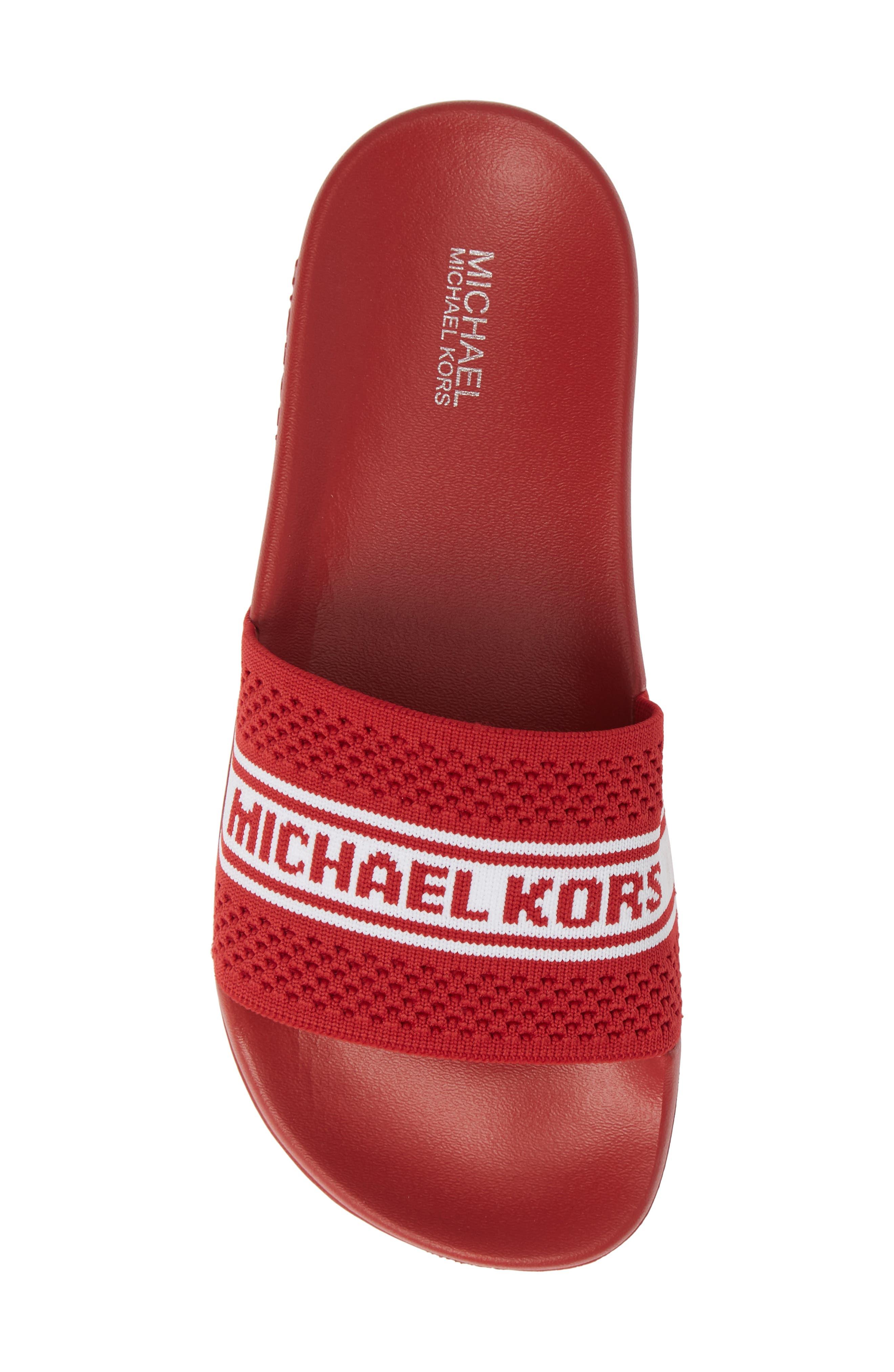 MICHAEL MICHAEL KORS, Gilmore Slide Sandal, Alternate thumbnail 5, color, BRIGHT RED FABRIC