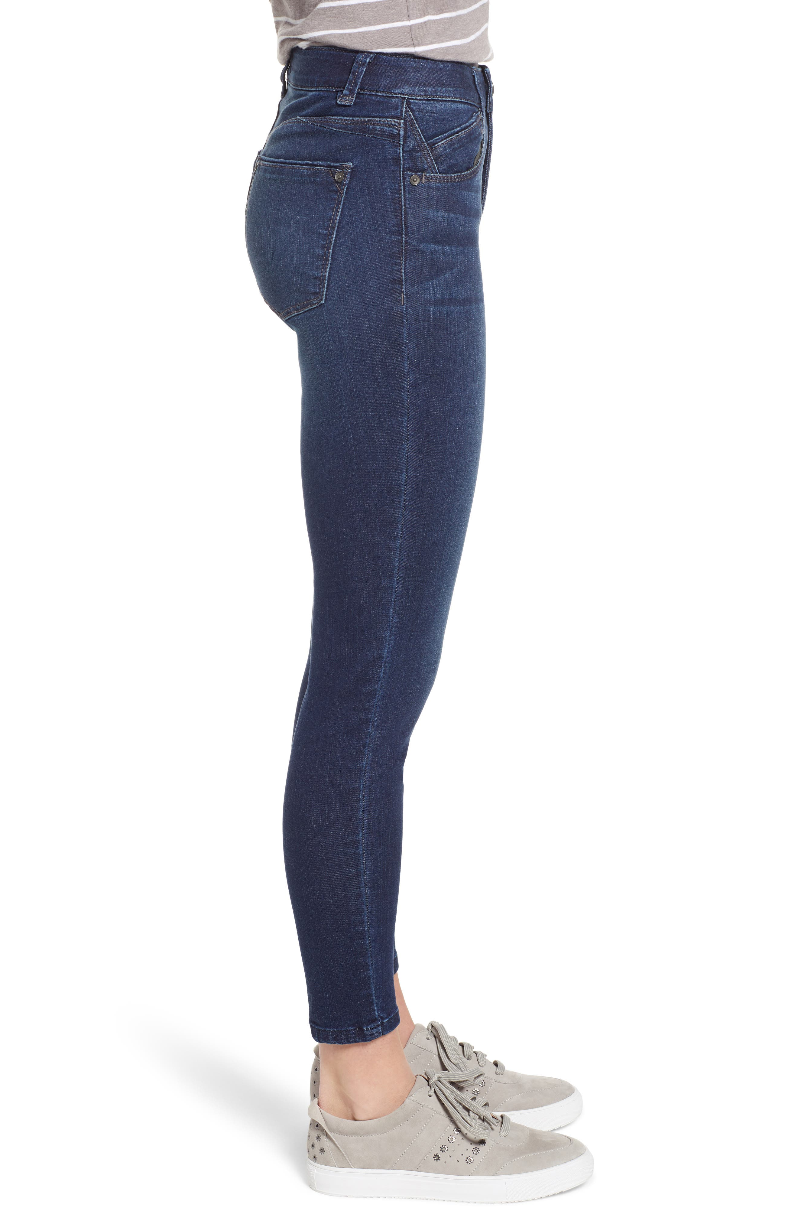 WIT & WISDOM, Ab-Solution High Rise Ankle Skinny Jeans, Alternate thumbnail 4, color, INDIGO