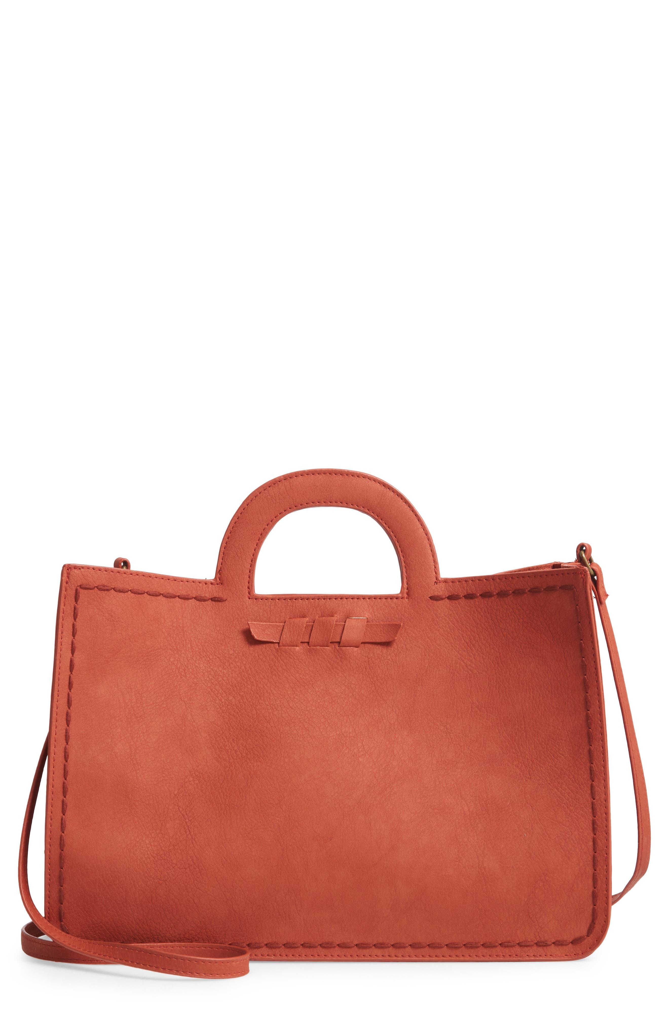 T-SHIRT & JEANS, Faux Leather Top Handle Tote Bag, Main thumbnail 1, color, 805