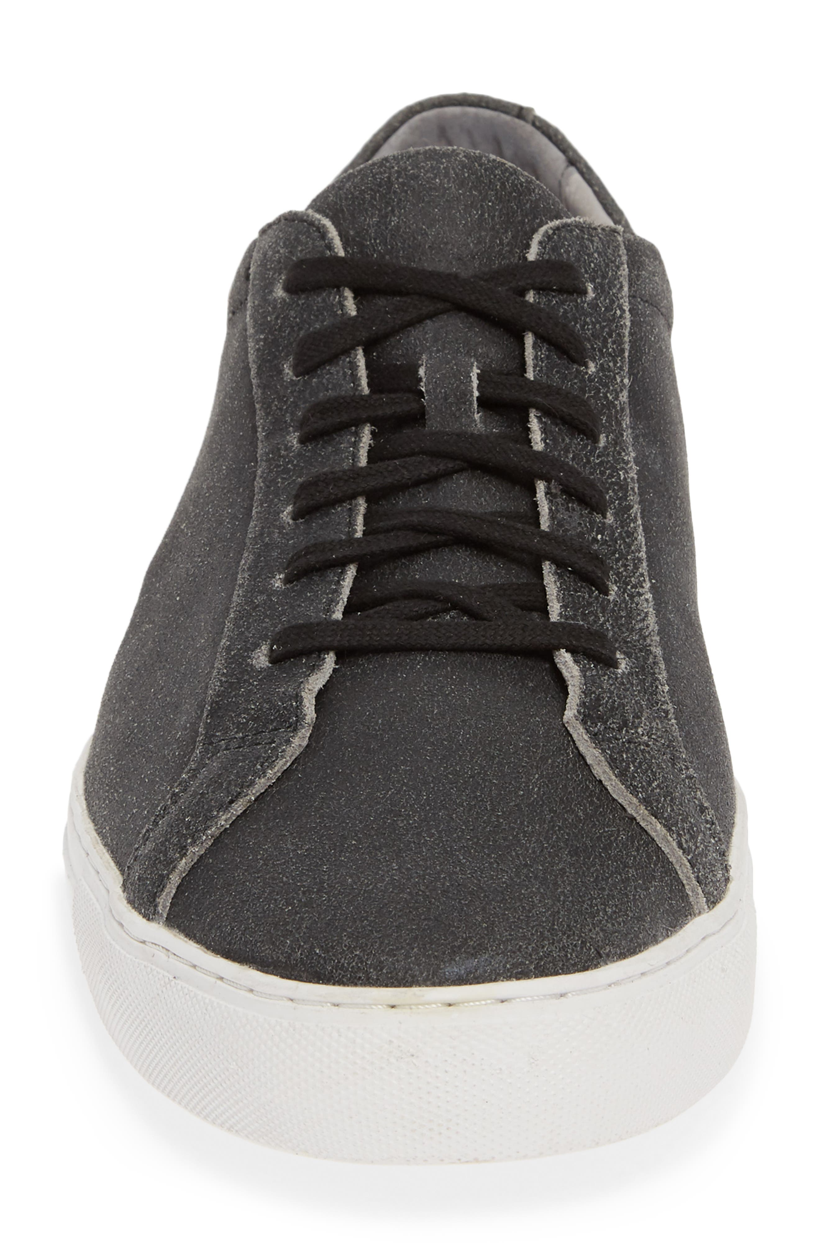 TCG, Kennedy Low Top Sneaker, Alternate thumbnail 4, color, CRACKED BLACK LEATHER