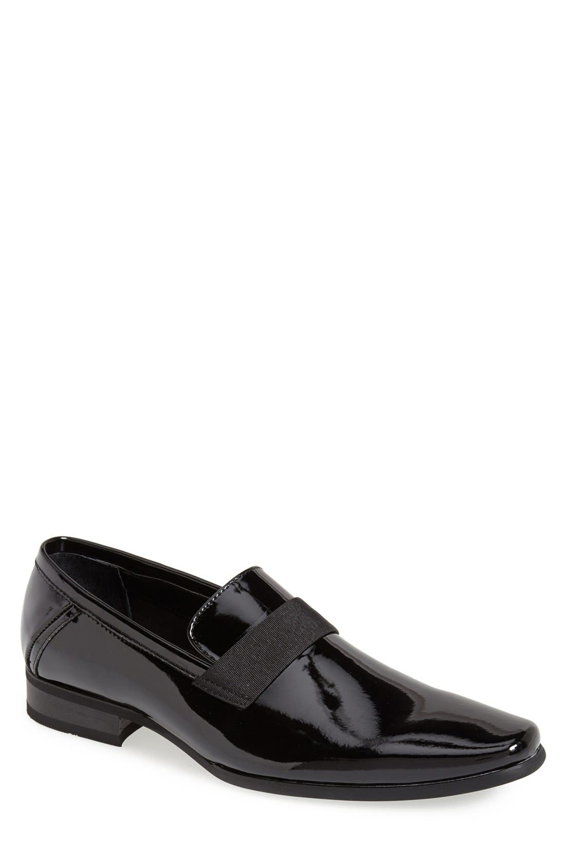 CALVIN KLEIN, 'Bernard' Venetian Loafer, Main thumbnail 1, color, BLACK