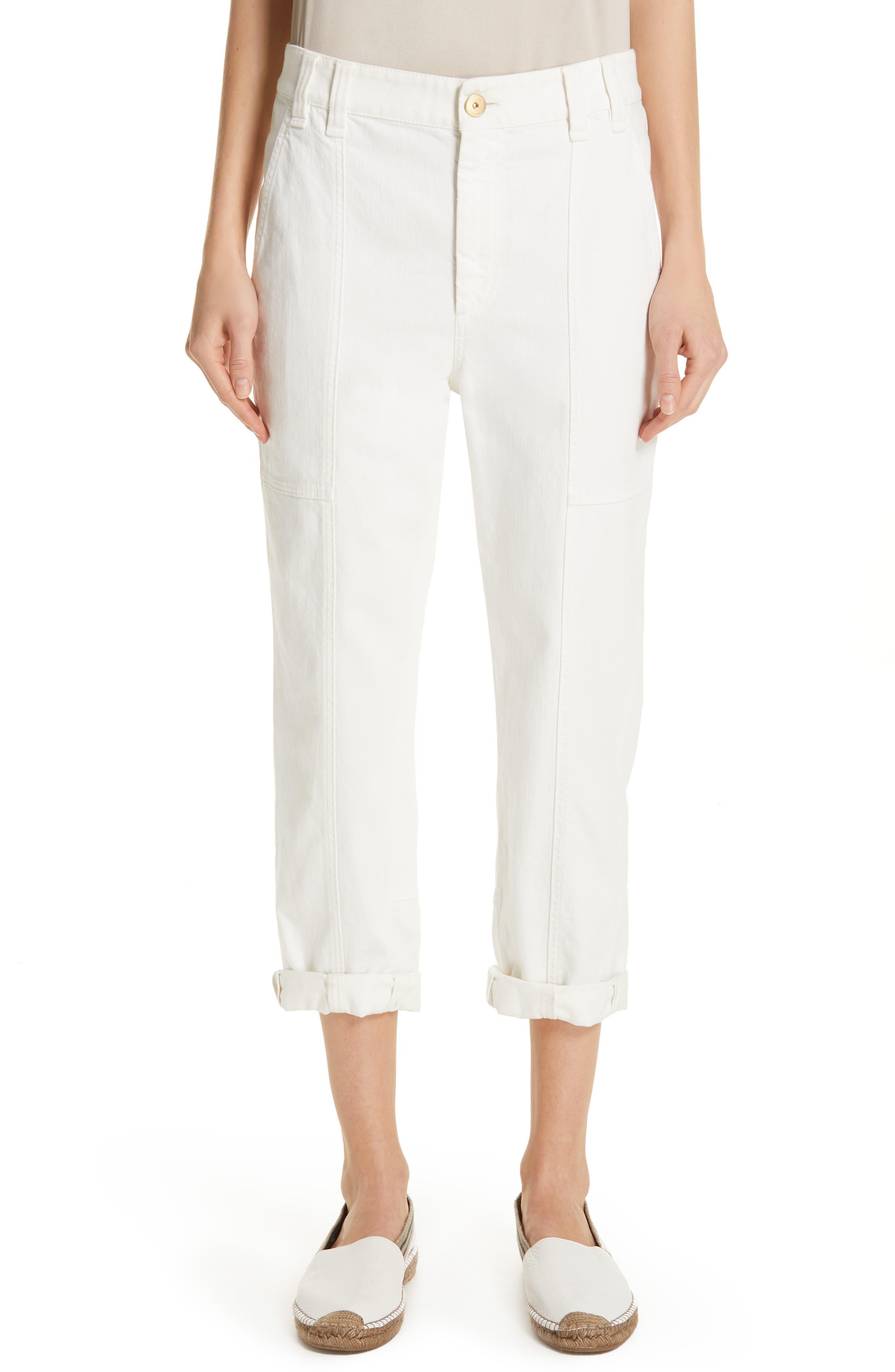 Brunello Cucinelli Stretch Cotton Crop Cargo Pants, US / 48 IT - White