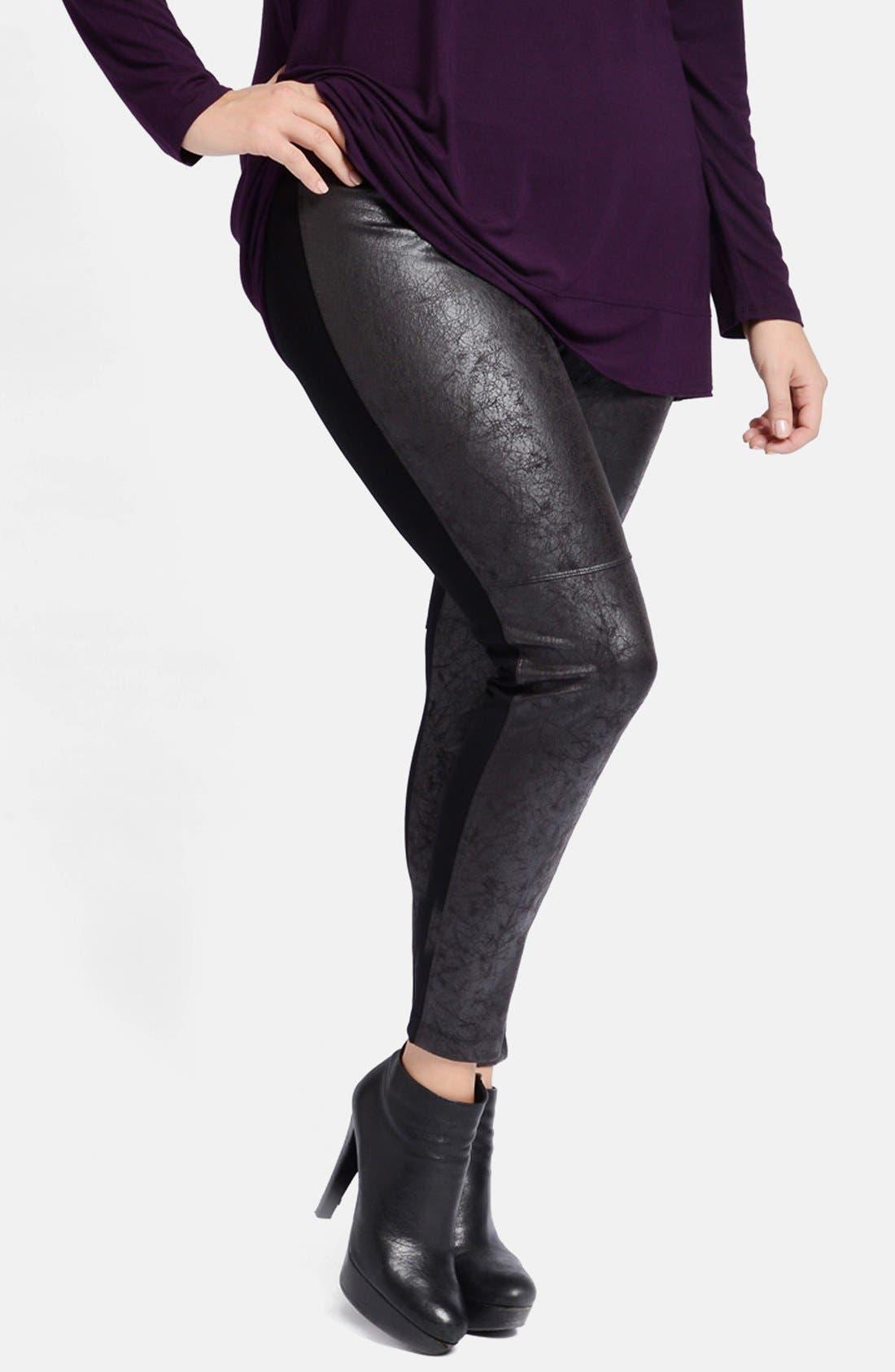 LYSSÉ, Distressed Faux Leather & Ponte Knit Leggings, Alternate thumbnail 4, color, 001