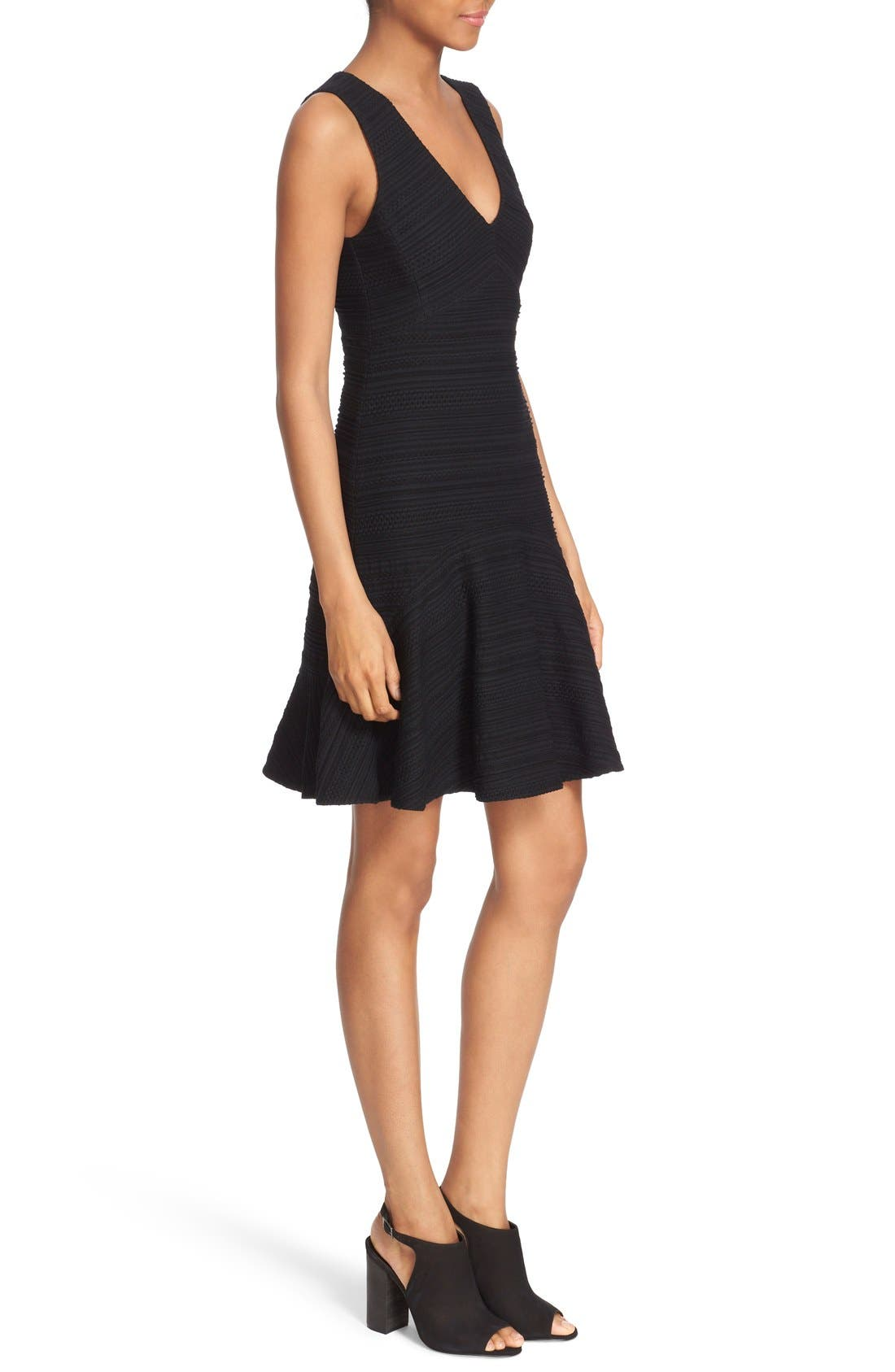 REBECCA TAYLOR, Sleeveless V-Neck Texture Knit Fit & Flare Dress, Alternate thumbnail 2, color, 001