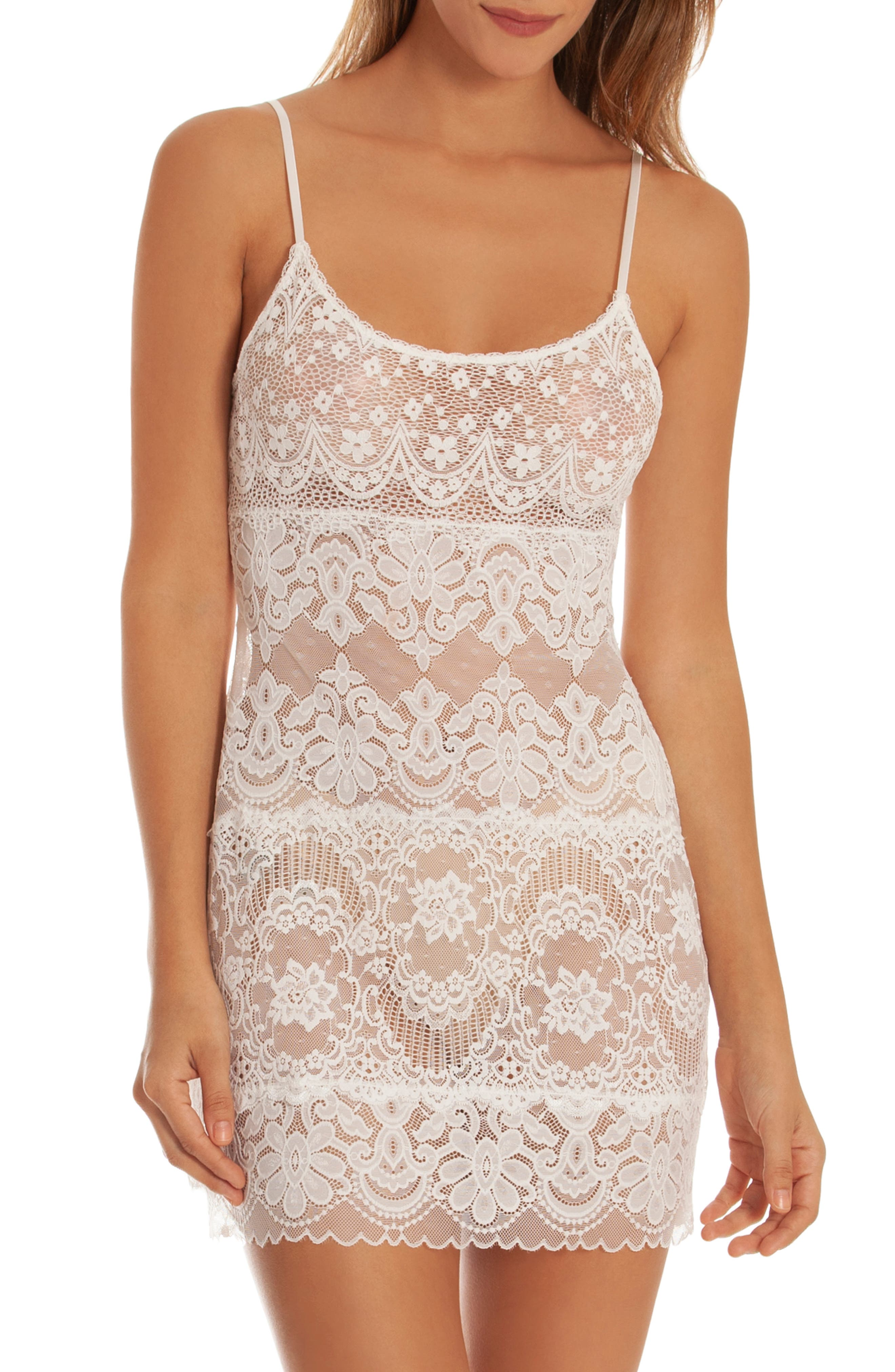 IN BLOOM BY JONQUIL, Lace Chemise, Main thumbnail 1, color, IVORY