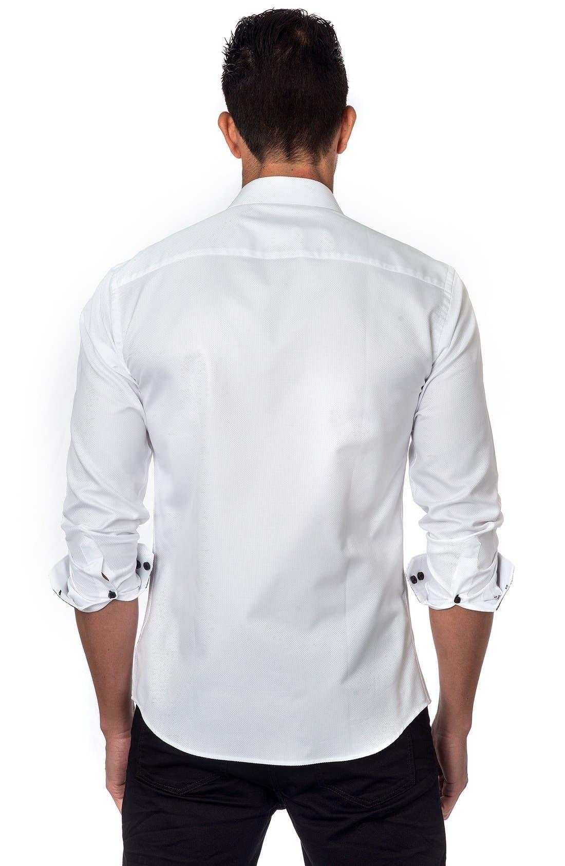JARED LANG, Trim Fit Sport Shirt, Alternate thumbnail 4, color, 100