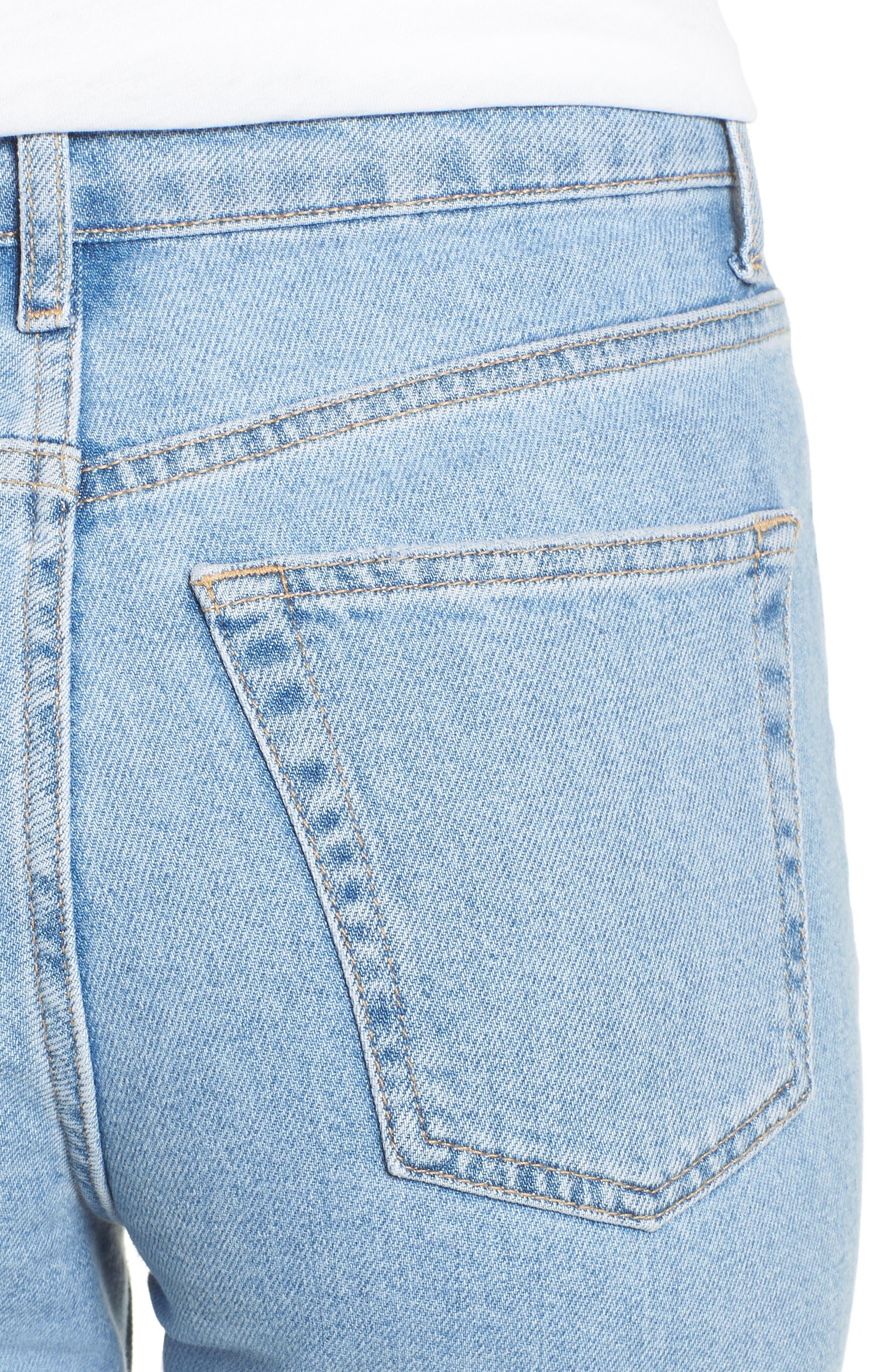 TOPSHOP, Raw Hem Straight Leg Jeans, Alternate thumbnail 5, color, BLEACH STONE DENIM