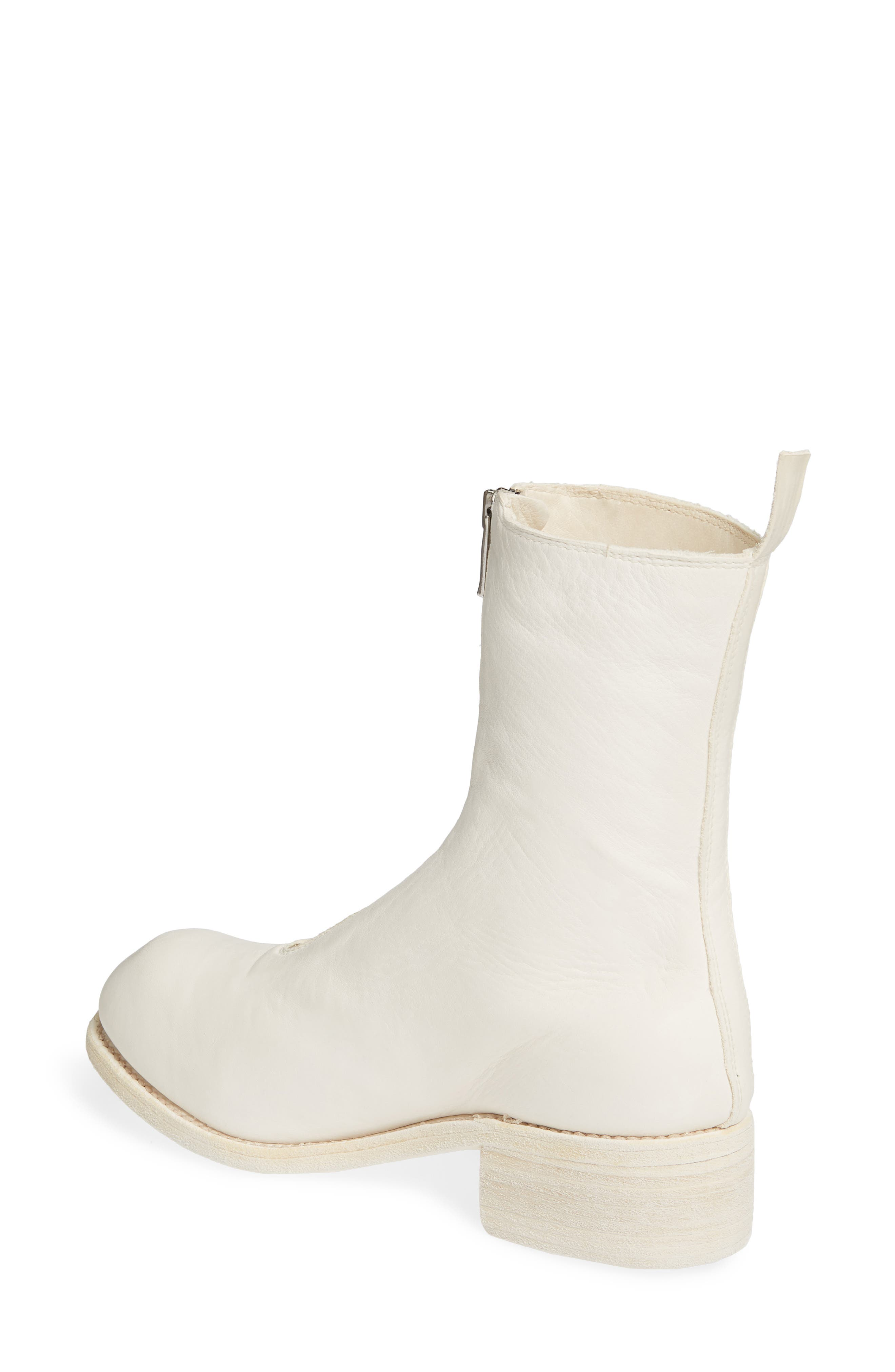 GUIDI, Front Zip Boot, Alternate thumbnail 2, color, WHITE