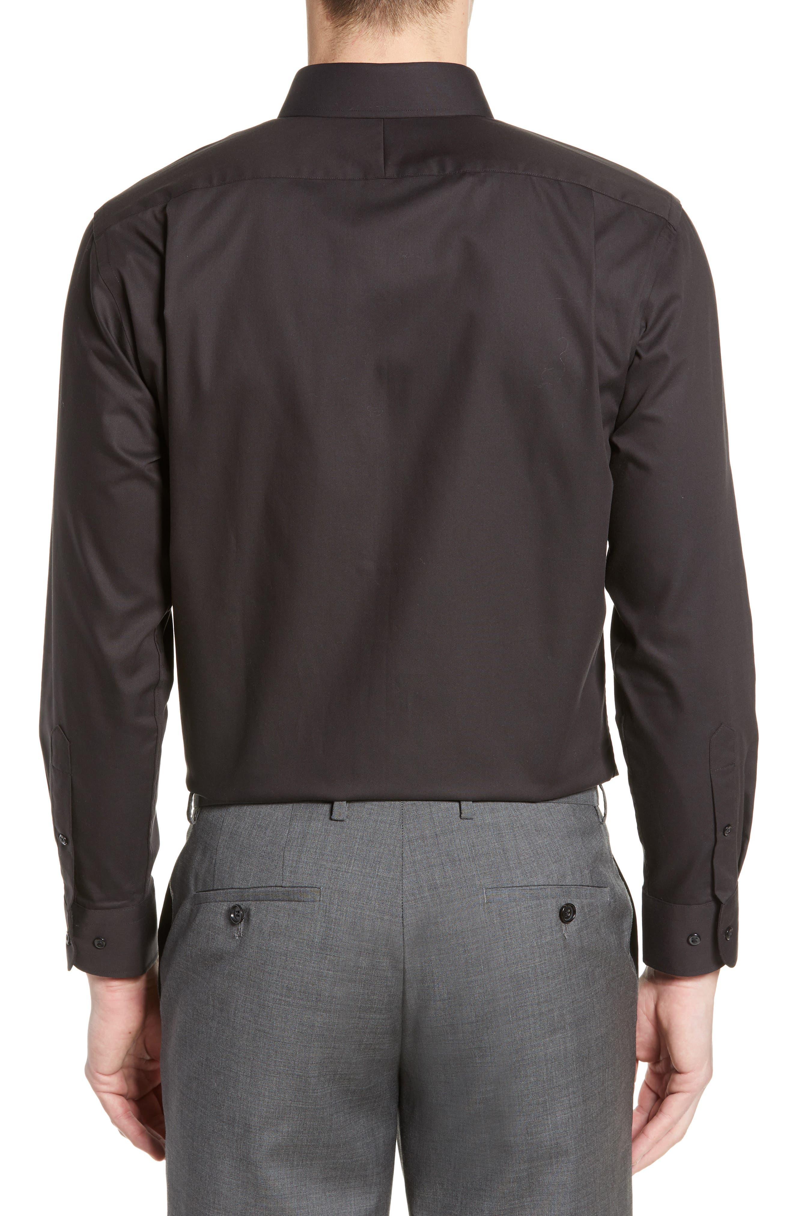 NORDSTROM MEN'S SHOP, Trim Fit Non-Iron Dress Shirt, Alternate thumbnail 3, color, BLACK